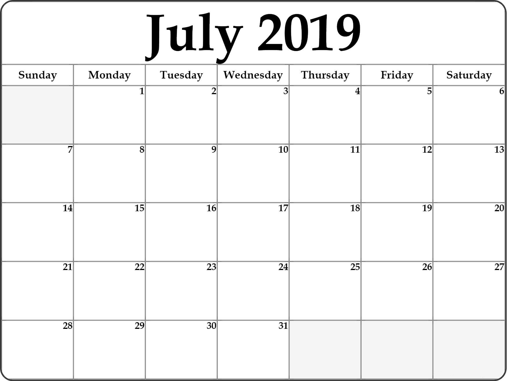 Printable July 2019 Calendar Pdf Free Template - July 2020 Calendar with regard to July 2019 - July 2020 Calendar Printable Free