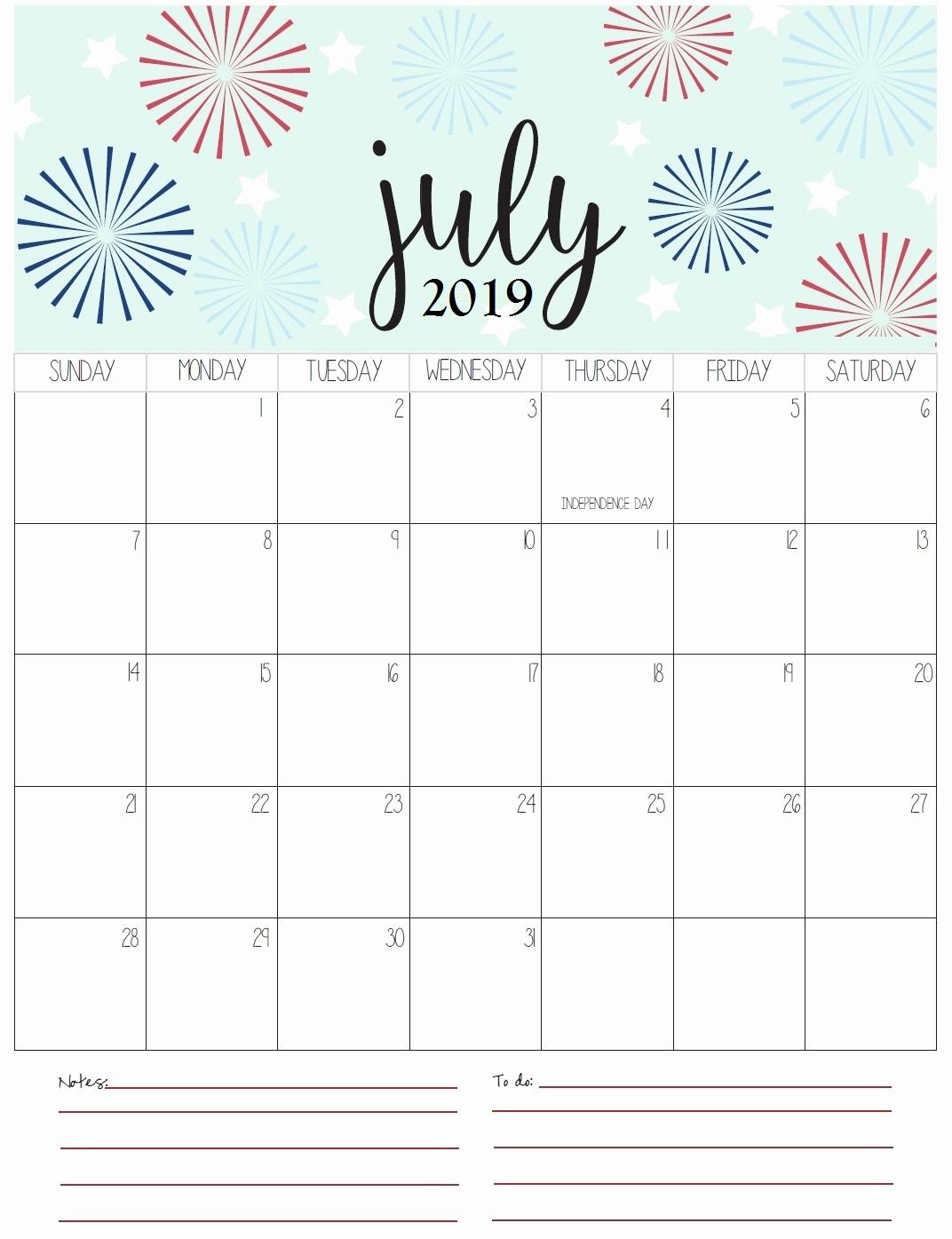 Printable July 2019 Calendar Pdf Word Excel Template regarding Cute August Calendar Printable Template