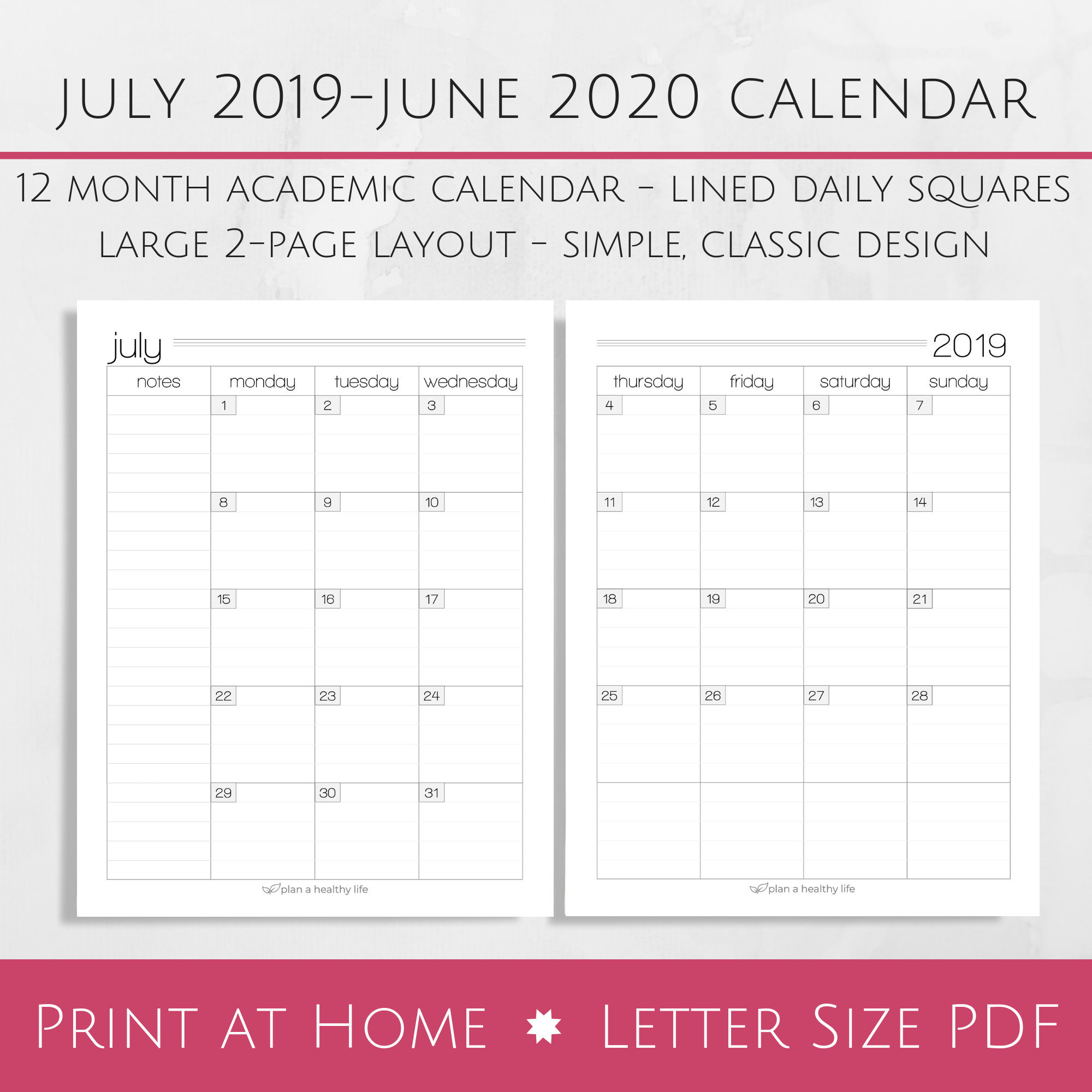 Printable July 2019-June 2020 Academic Monthly Calendar - 8.5X11 Letter  Size Pdf - Planner Insert - Instant Download - Planner Calendar with regard to 2020 Free Printable 8.5 X11 Monthly Calendars