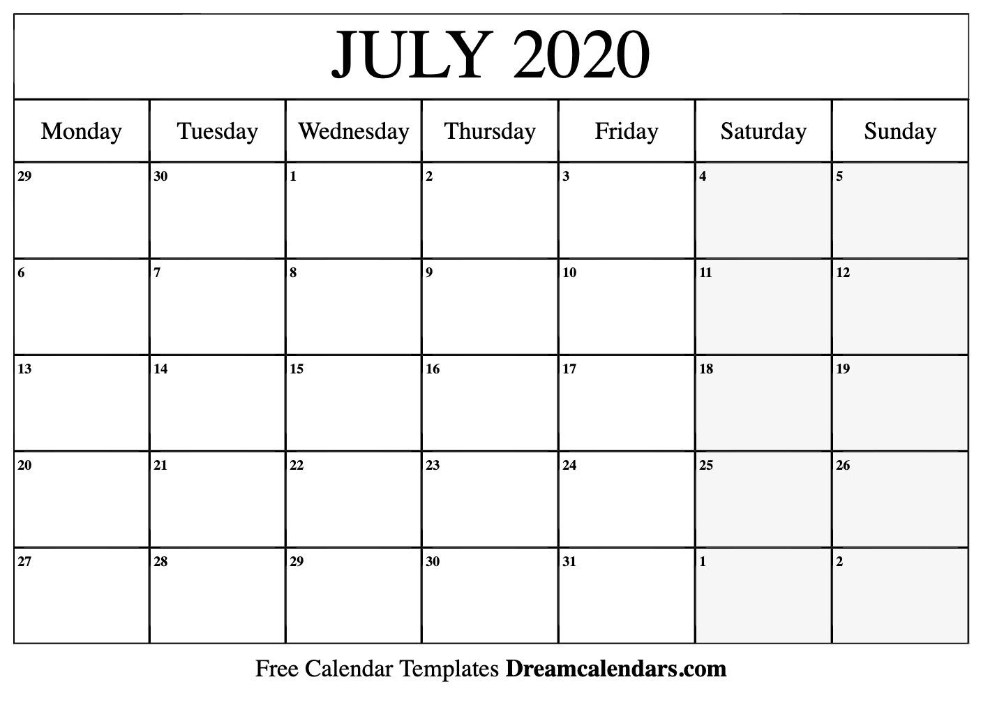 Printable July 2020 Calendar for Free Printable Fill In Calendars 2020