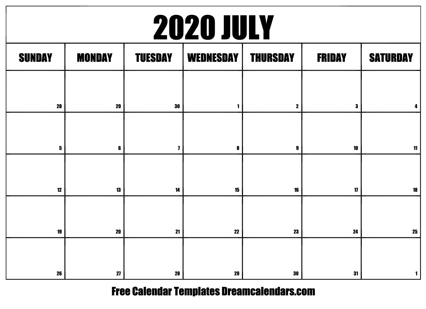Printable July 2020 Calendar intended for Blank 2020 Calendar Starting On Saturday Printable Free