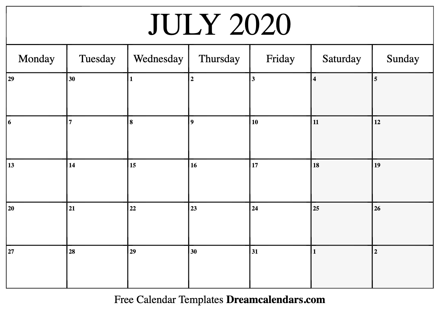 Printable July 2020 Calendar with regard to Calendar 2020 Printable Calendar Starting With Monday