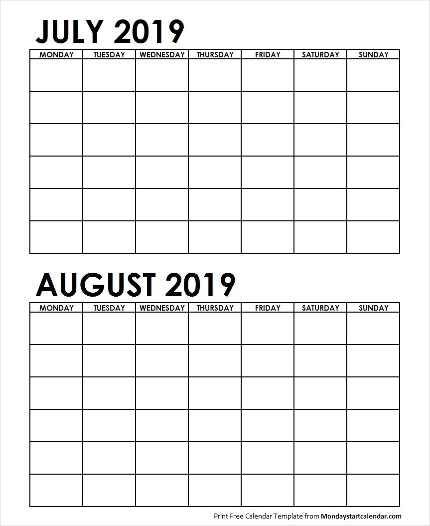 Printable July August 2019 Calendar Template Blank Archives - Monday regarding Printable July Augsut September Calendar Template