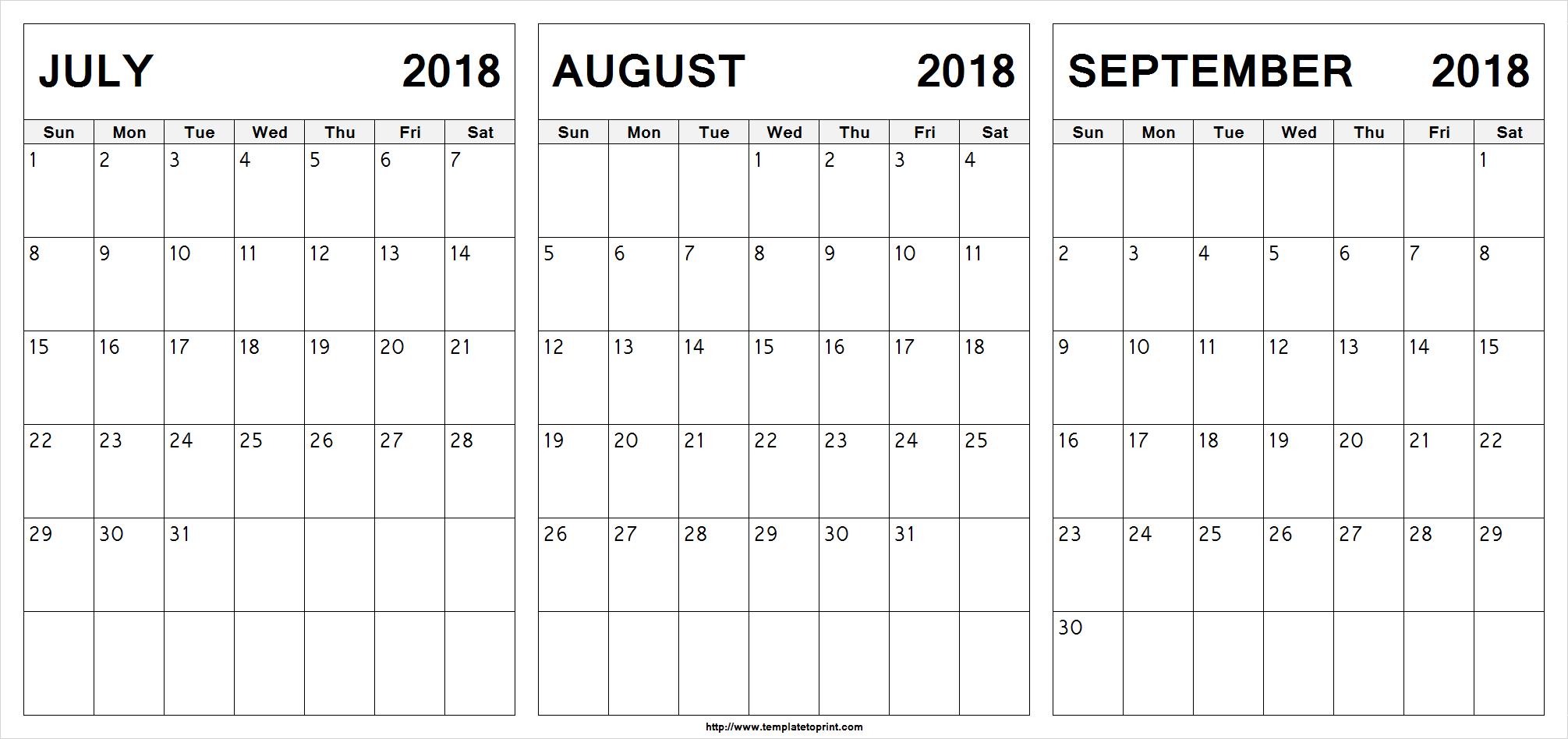 Printable July August September 2018 Calendar | 3 Month Calendar with Printable July Augsut September Calendar Template
