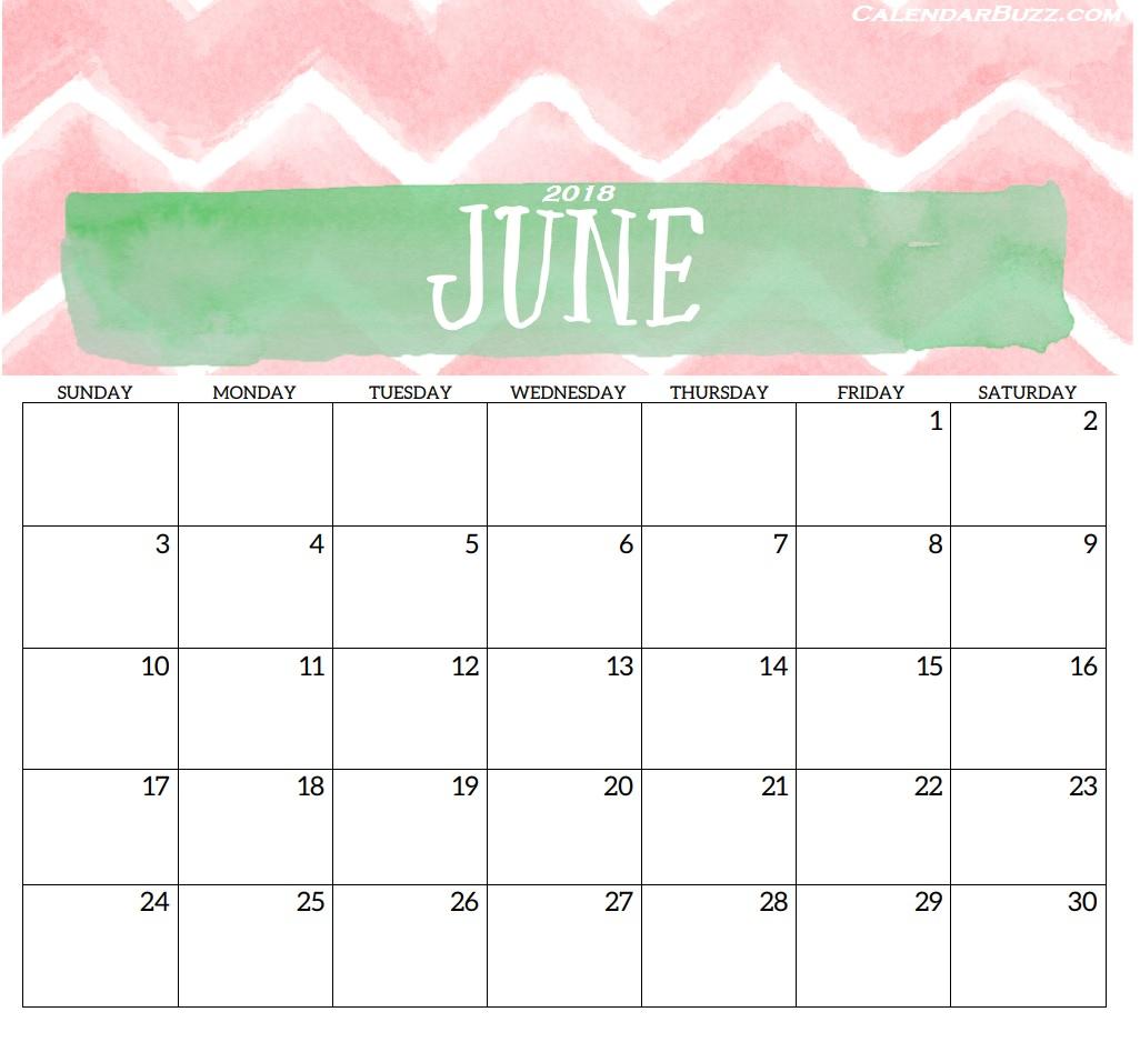 Printable June 2018 Calendar Pdf Word Excel Blank Templates - July within June Cute Calendar Template