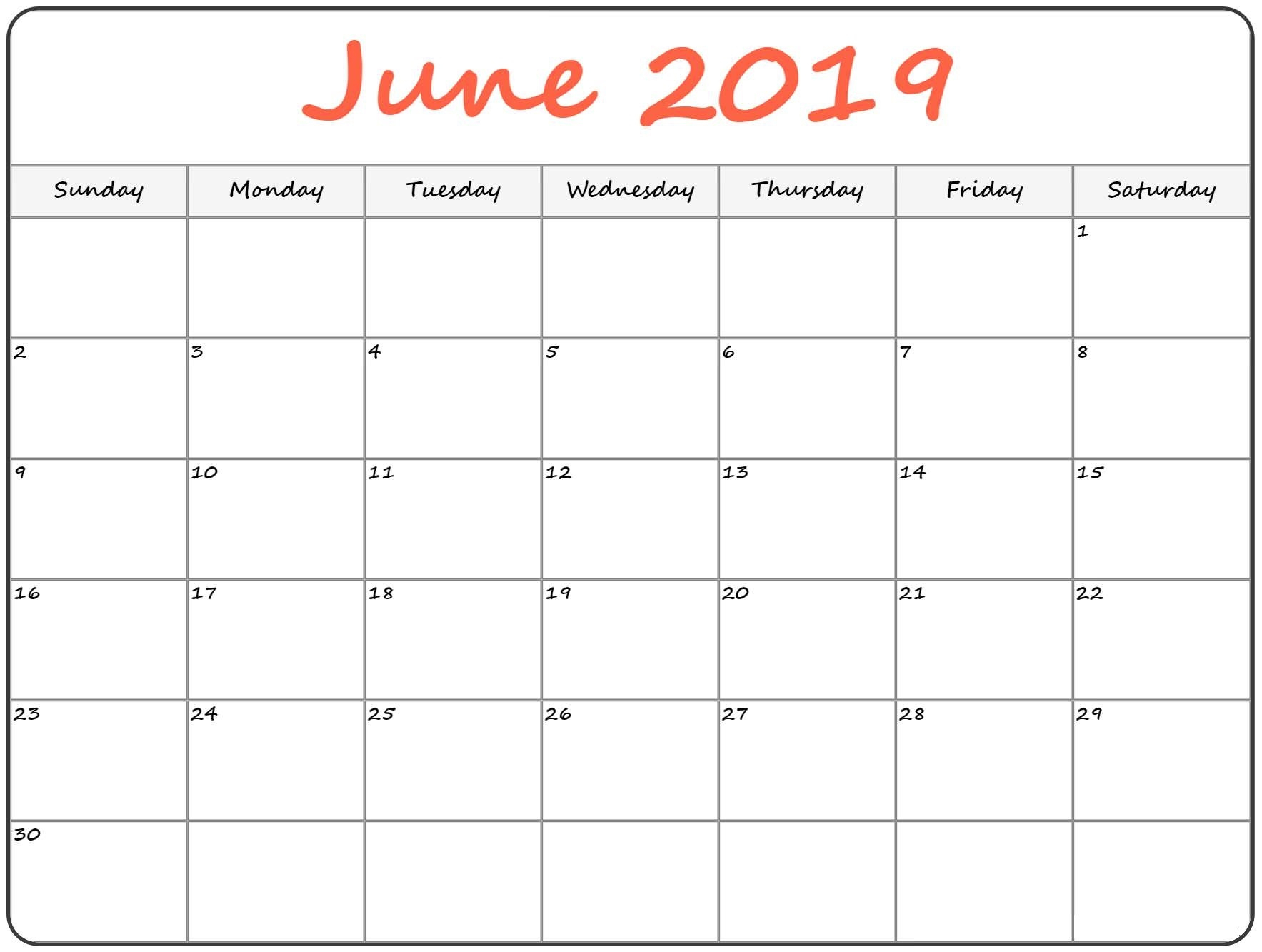 Printable June 2019 Calendarmonth - Free Printable Calendar pertaining to Pretty Monthly Calendar Template July