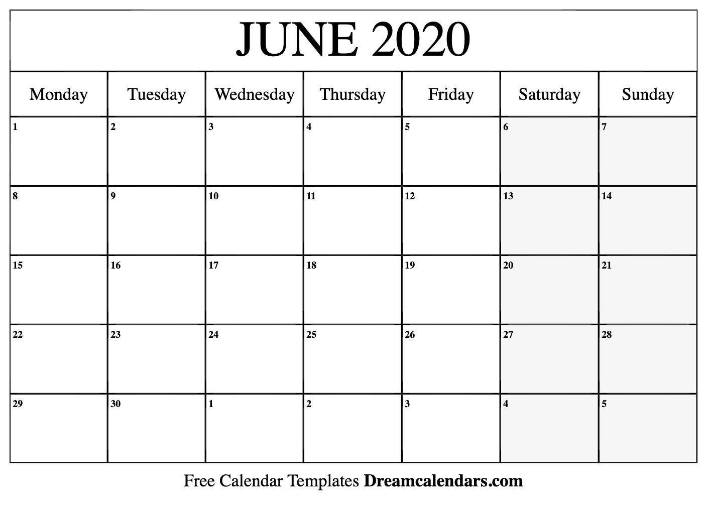 Printable June 2020 Calendar intended for Monday To Sunday Printable 2020 Calendar