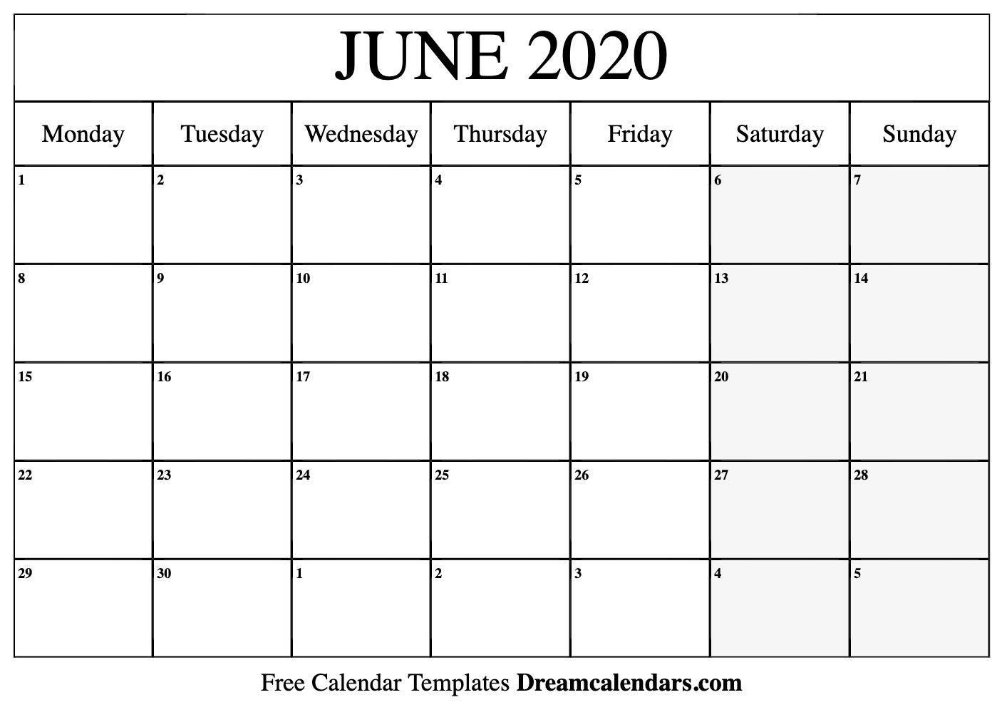 Printable June 2020 Calendar with July 2019 - July 2020 Calendar Printable Free