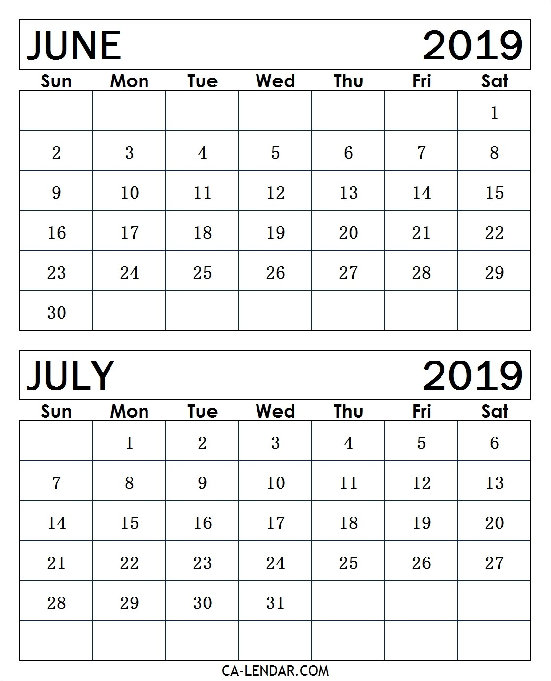Printable June And July 2019 Calendar Monthly Templates - Calendar for Blank June And July Calendar