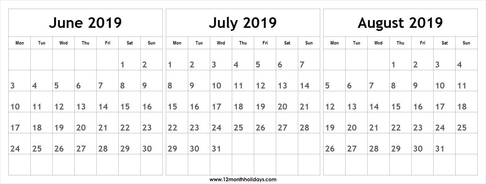 Printable June July August 2019 Calendar | 12 Month Calendar 2019 inside Template June July August