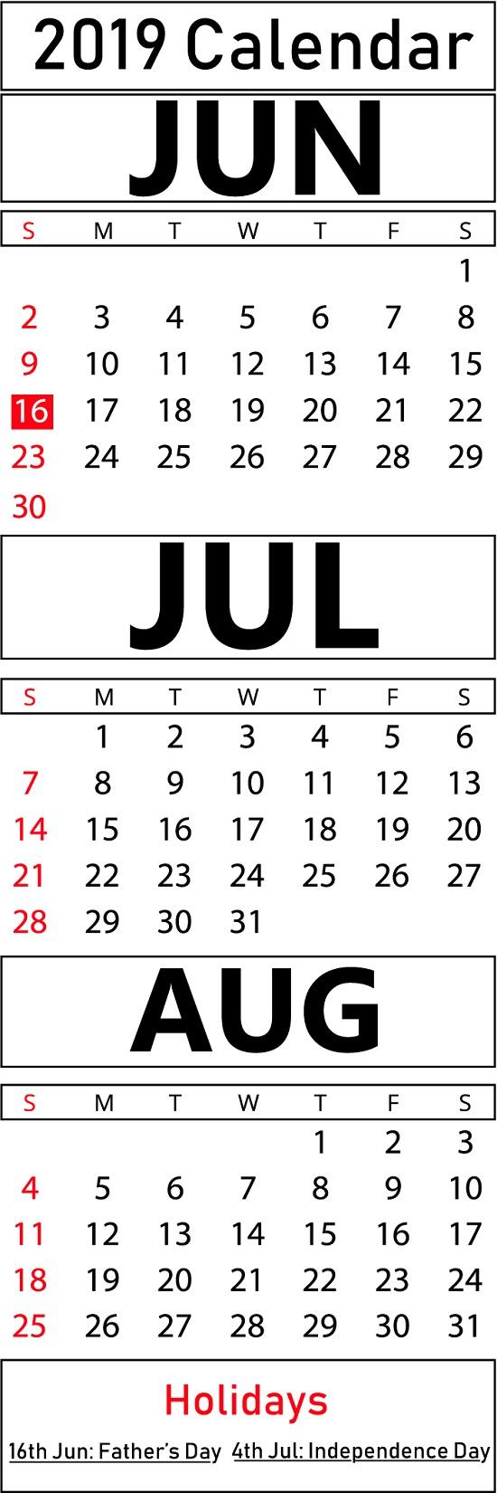 Printable June & July & August 2019 Calendar Templates | Printable for June And July Blank Calendar