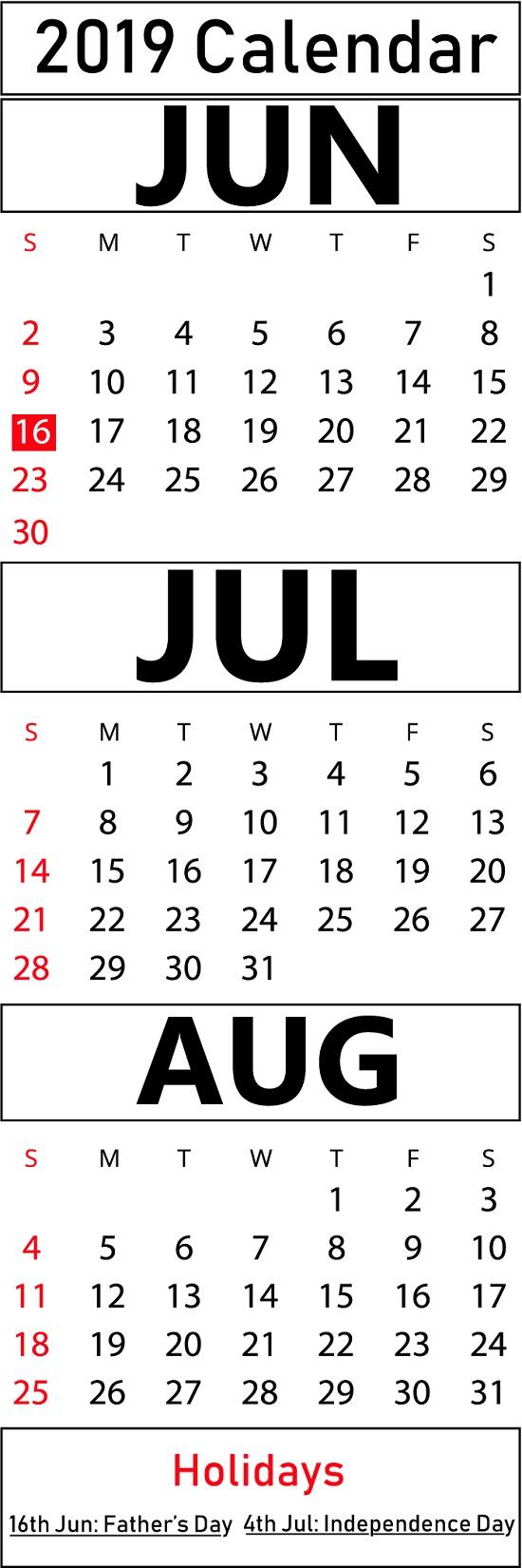 Printable June & July & August 2019 Calendar Templates   Printable inside Blank Calendar June July August