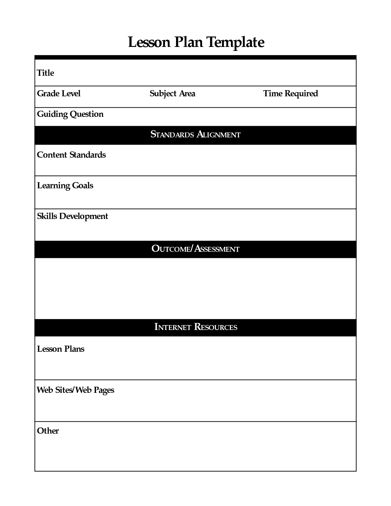 Printable Lesson Plan Template, Free To Download regarding Basic Lesson Plan Template Printable