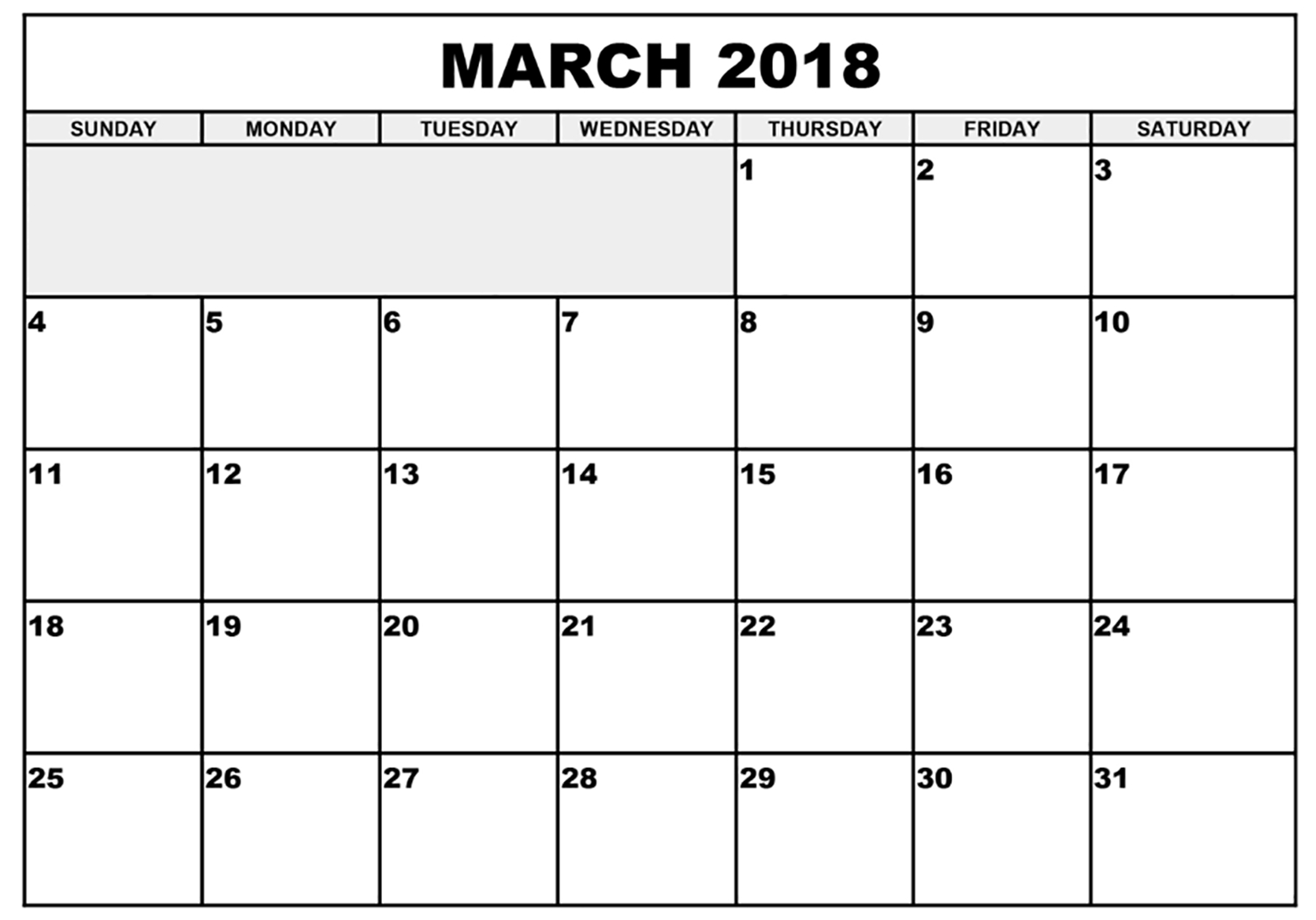 Printable March 2018 Calendar - Printable Monthly Calendar throughout March Calendar Printable Template