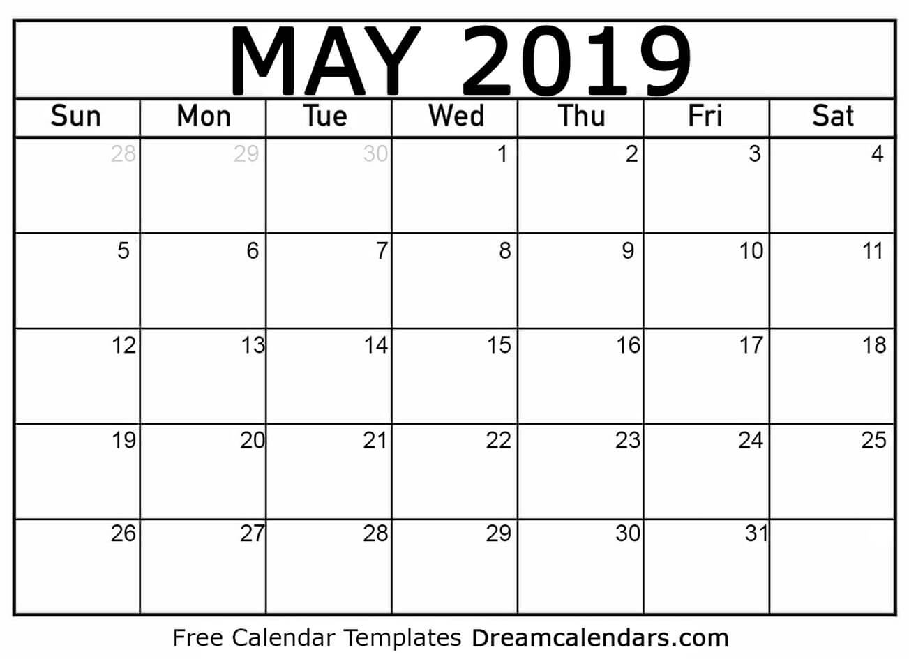 Printable May 2019 Calendar inside Print Blank Workday Calendar For August