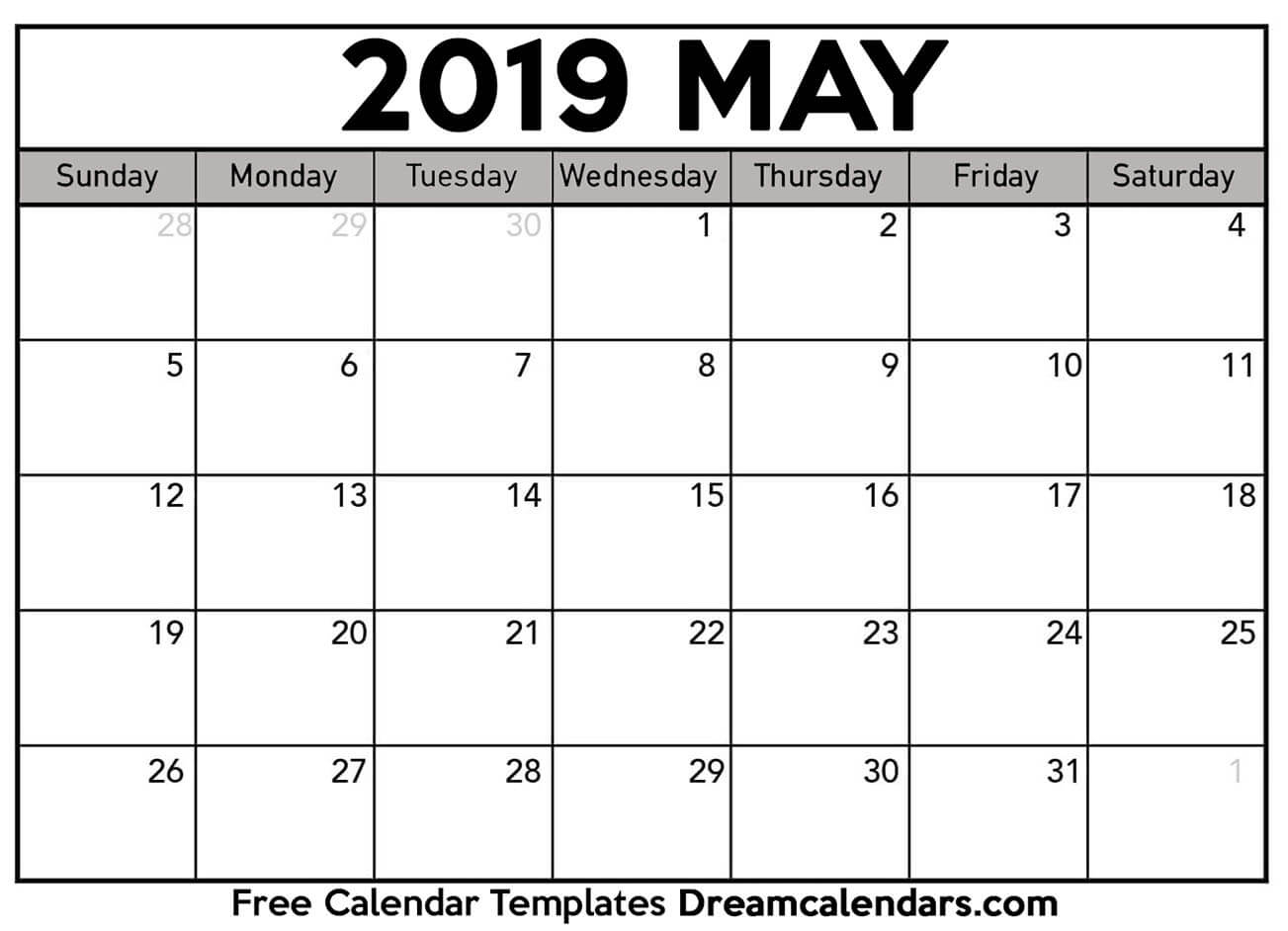 Printable May 2019 Calendar within Print Blank Workday Calendar For August
