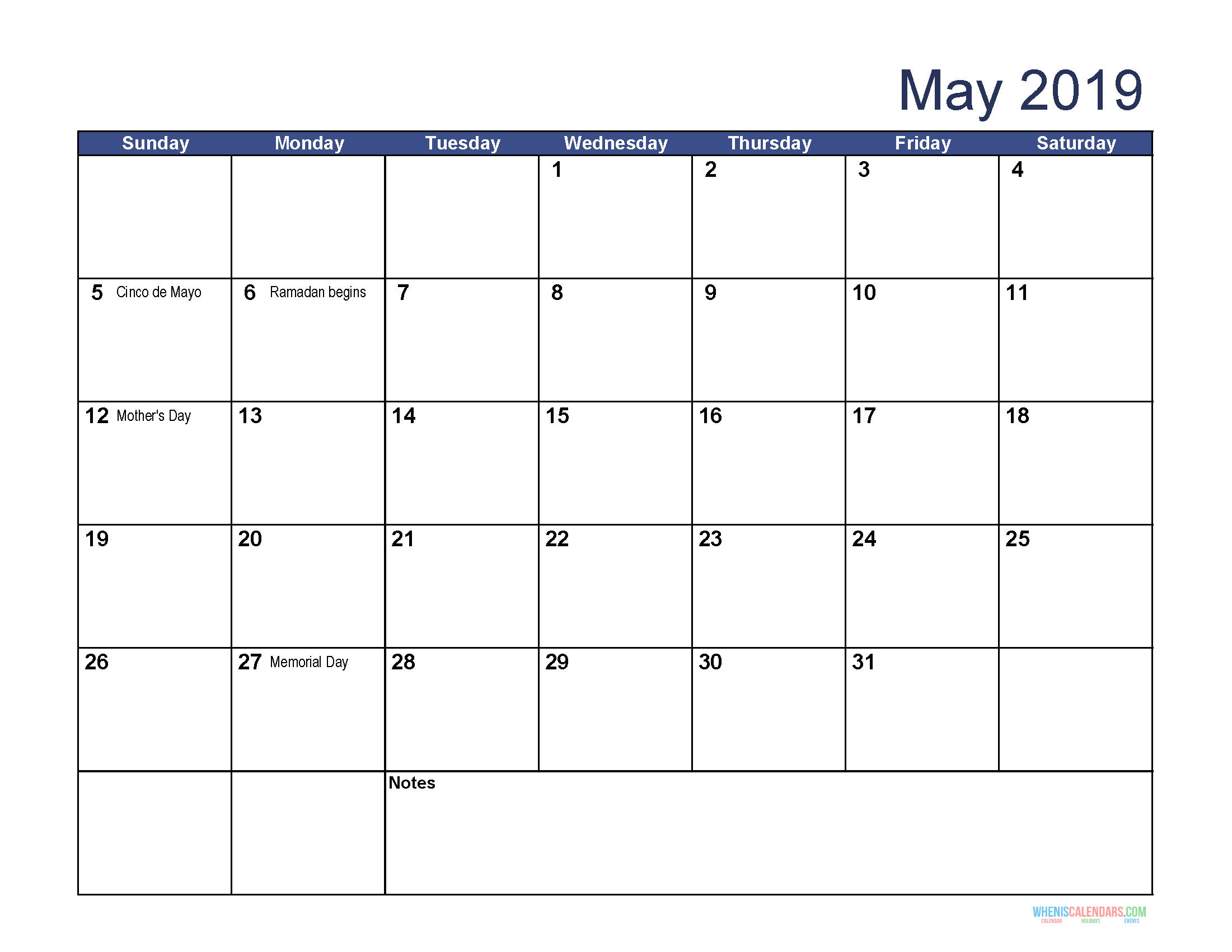Printable May 2019 Holidays Calendar - Printable Calendar 2019 for Blank Calendar Print-Outs Fill In With Holidays