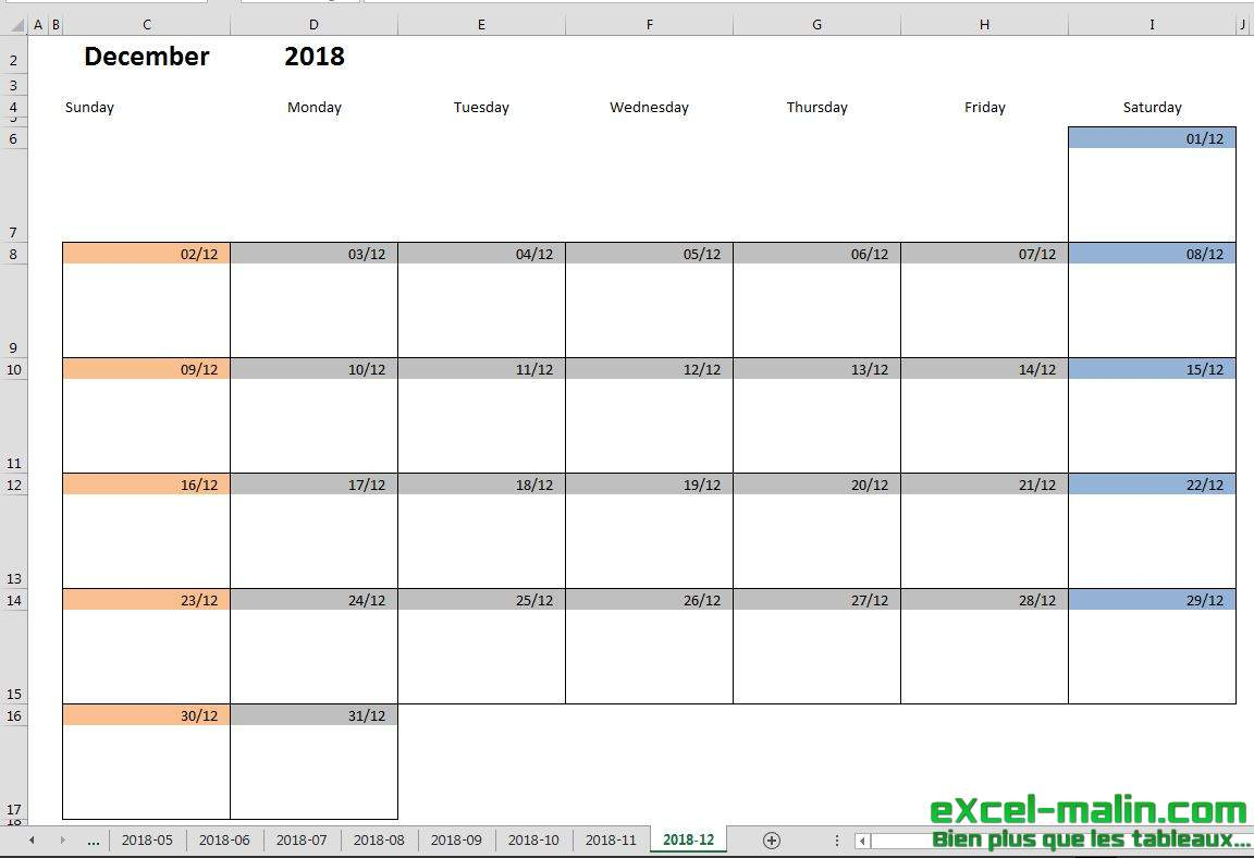 Printable Monthly Calendar Template For Excel | Excel-Malin for Excel Monthly Calendar Template