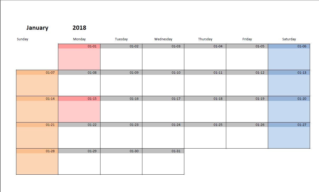 Printable Monthly Calendar Template For Excel | Excel-Malin intended for Printable Monthly Calendar Templates