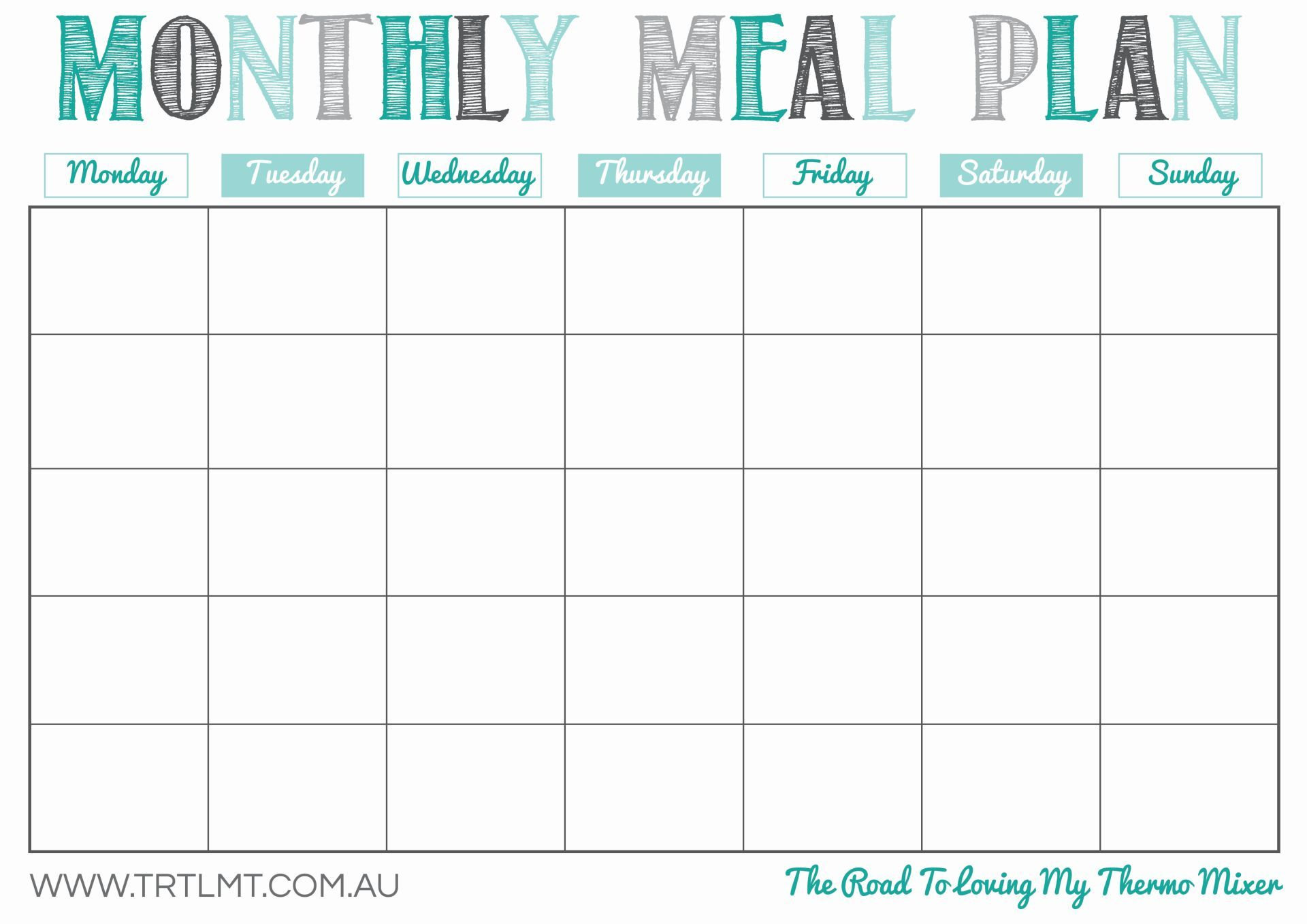 Printable Monthly Meal Planner | Organization In 2019 | Monthly Meal for Free Blank Monthly Planner Templates