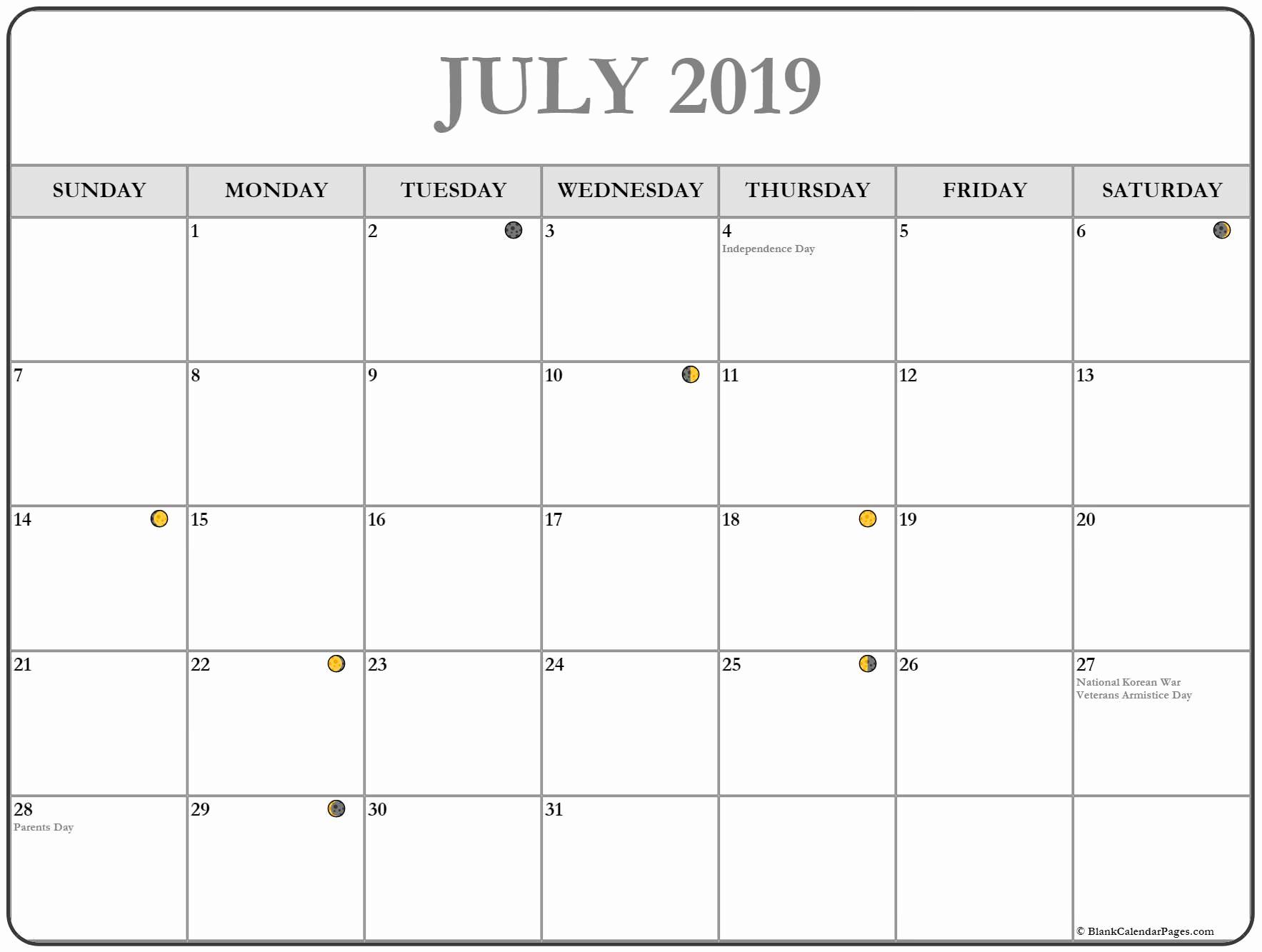 Printable Moon Calendar July 2019 - Free August 2019 Calendar within Template For Lunar Calendar