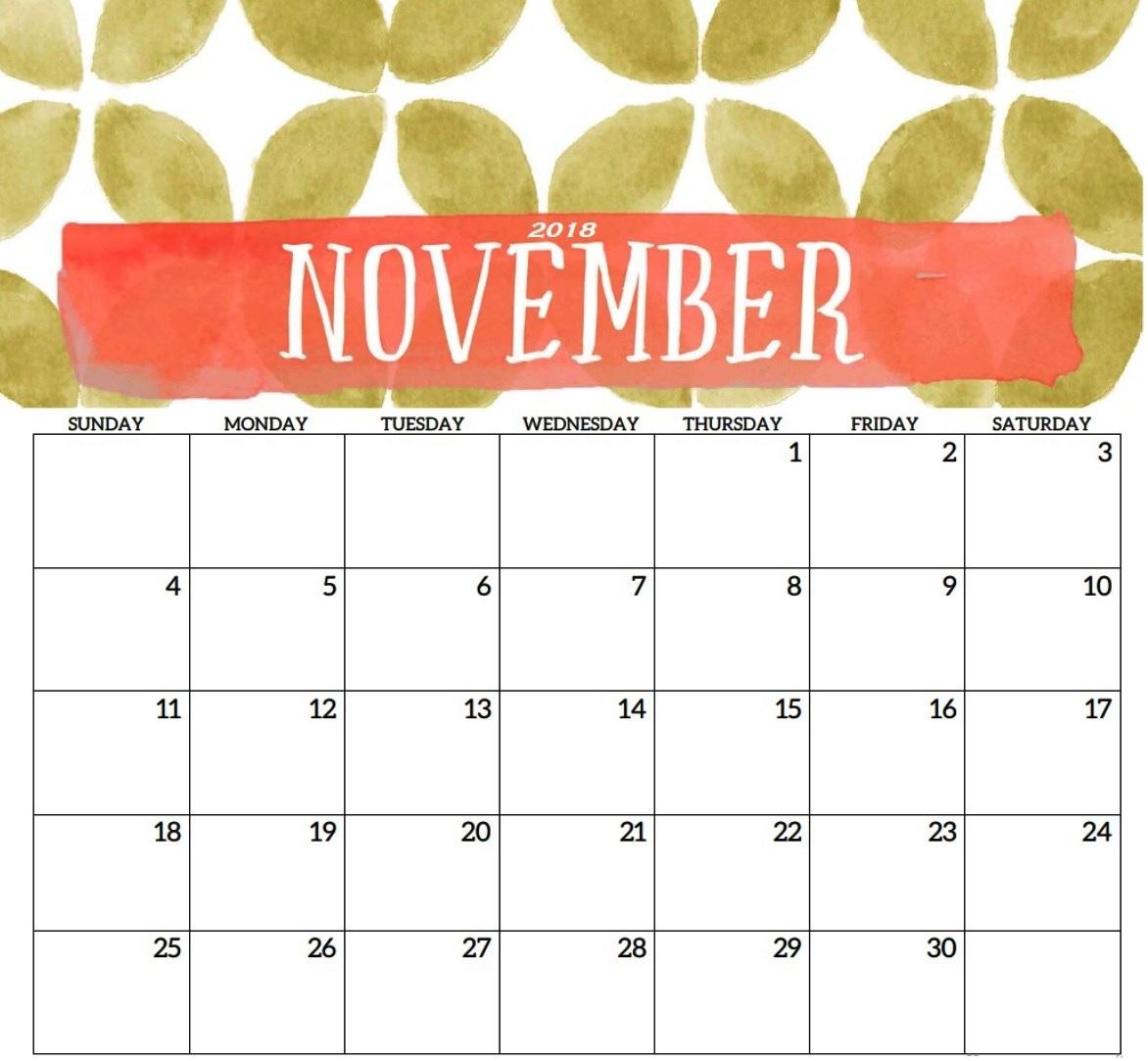 Printable November 2018 Calendar Free Download - November Calendar within Blank Printable November Calendar