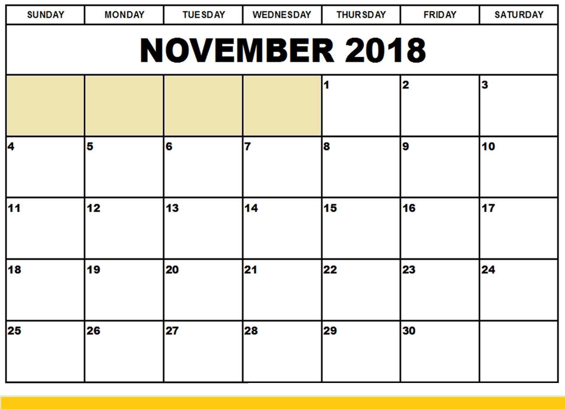 Printable November 2018 Calendar Large Print | November 2018 inside Blank Printable November Calendar
