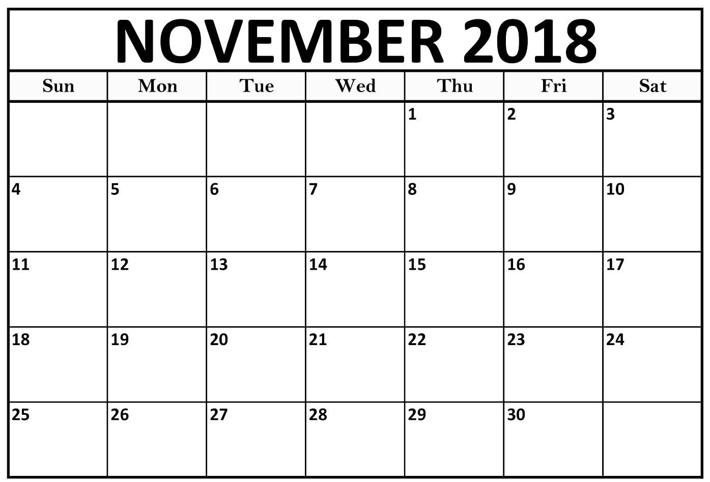 Printable November 2018 Calendar Pdf Free Template within November Calendar Template Free