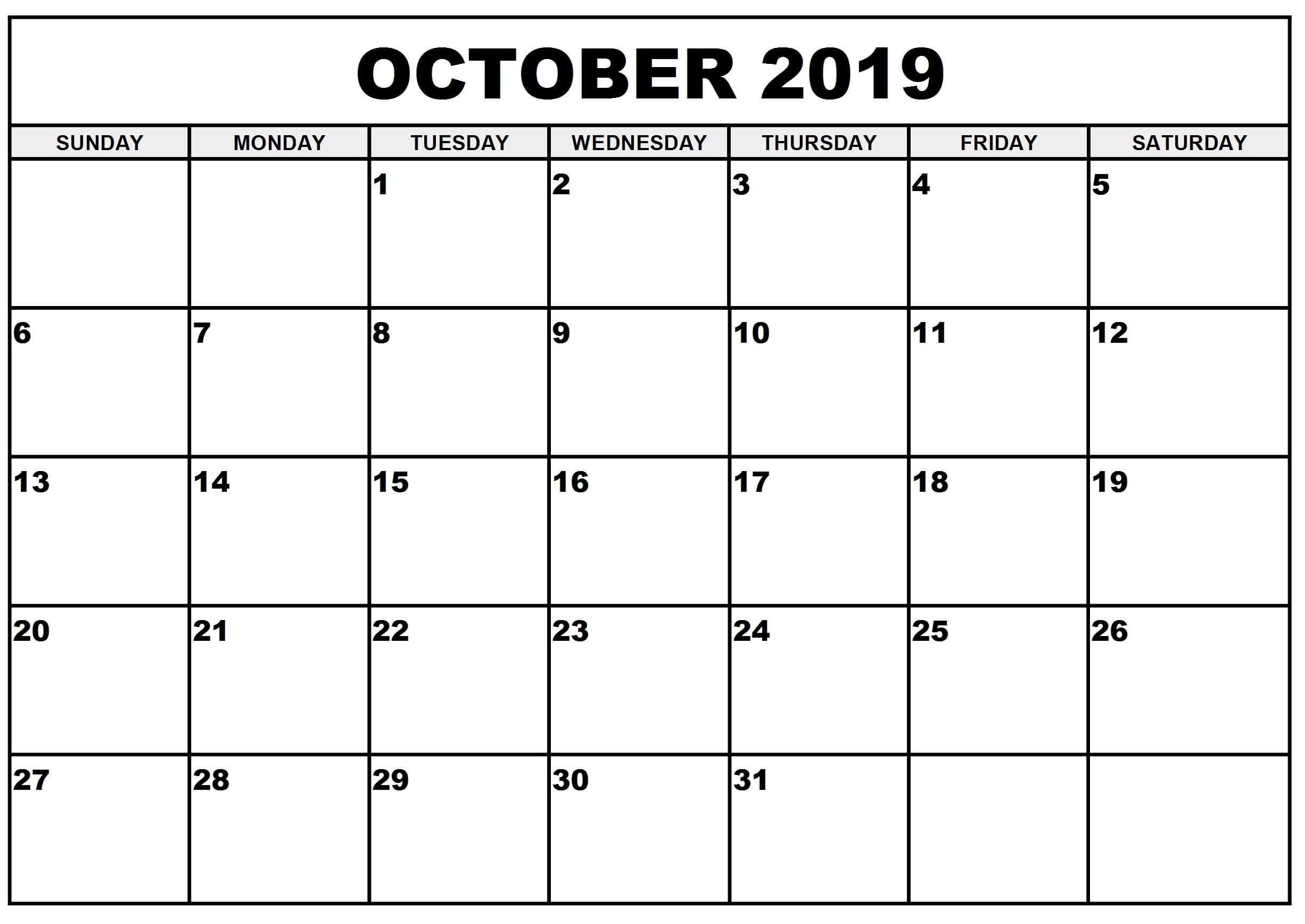 Printable October 2019 Calendar Australia With Holidays | Free with Calendar October 2019 Australia Images