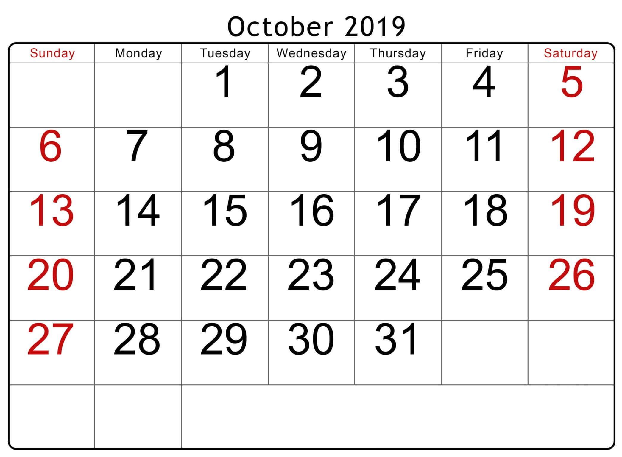 Printable October 2019 Calendar Australia With Holidays | Free within Calendar October 2019 Australia Images