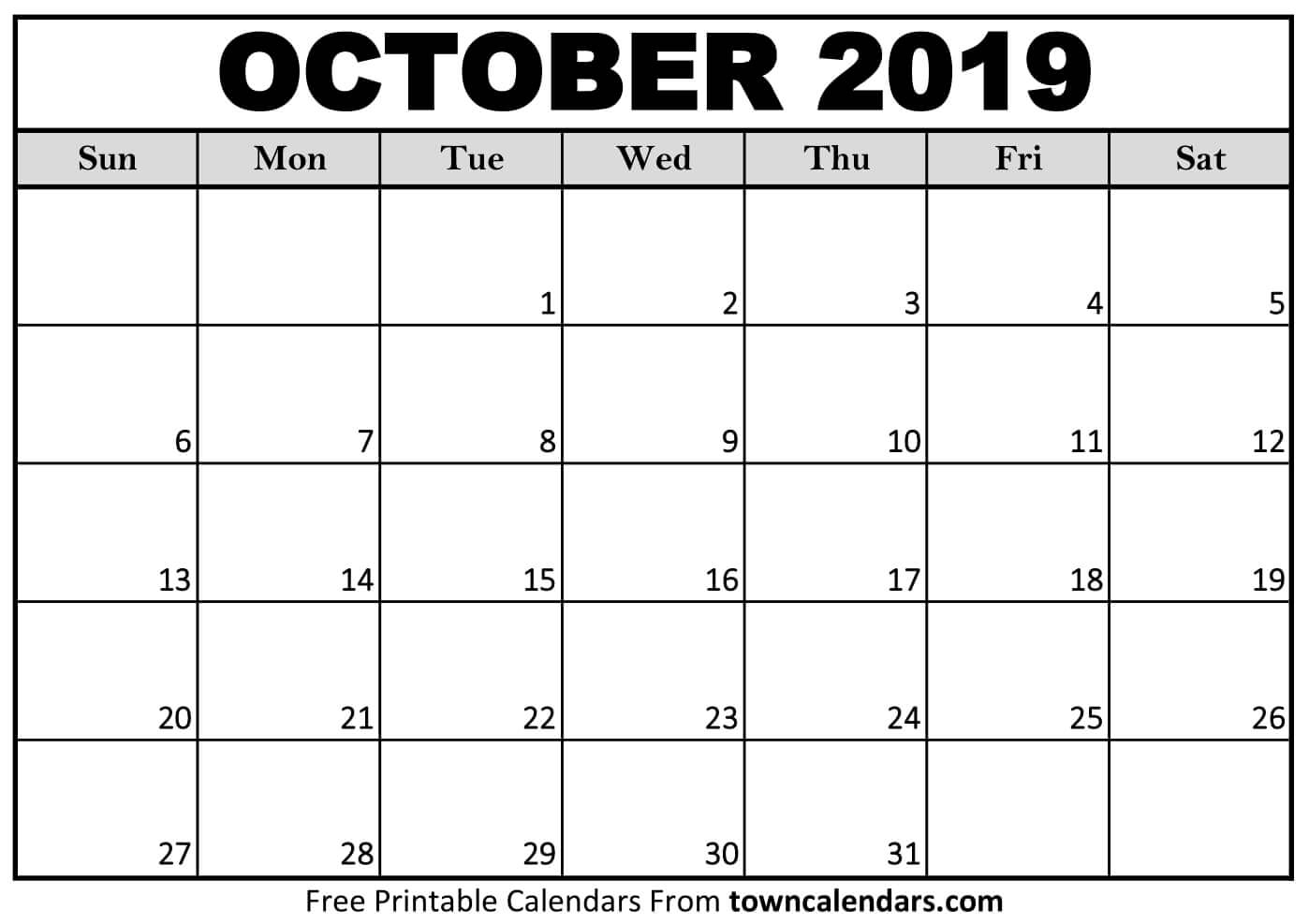 Printable October 2019 Calendar - Towncalendars regarding Catholic Calander For October 2019