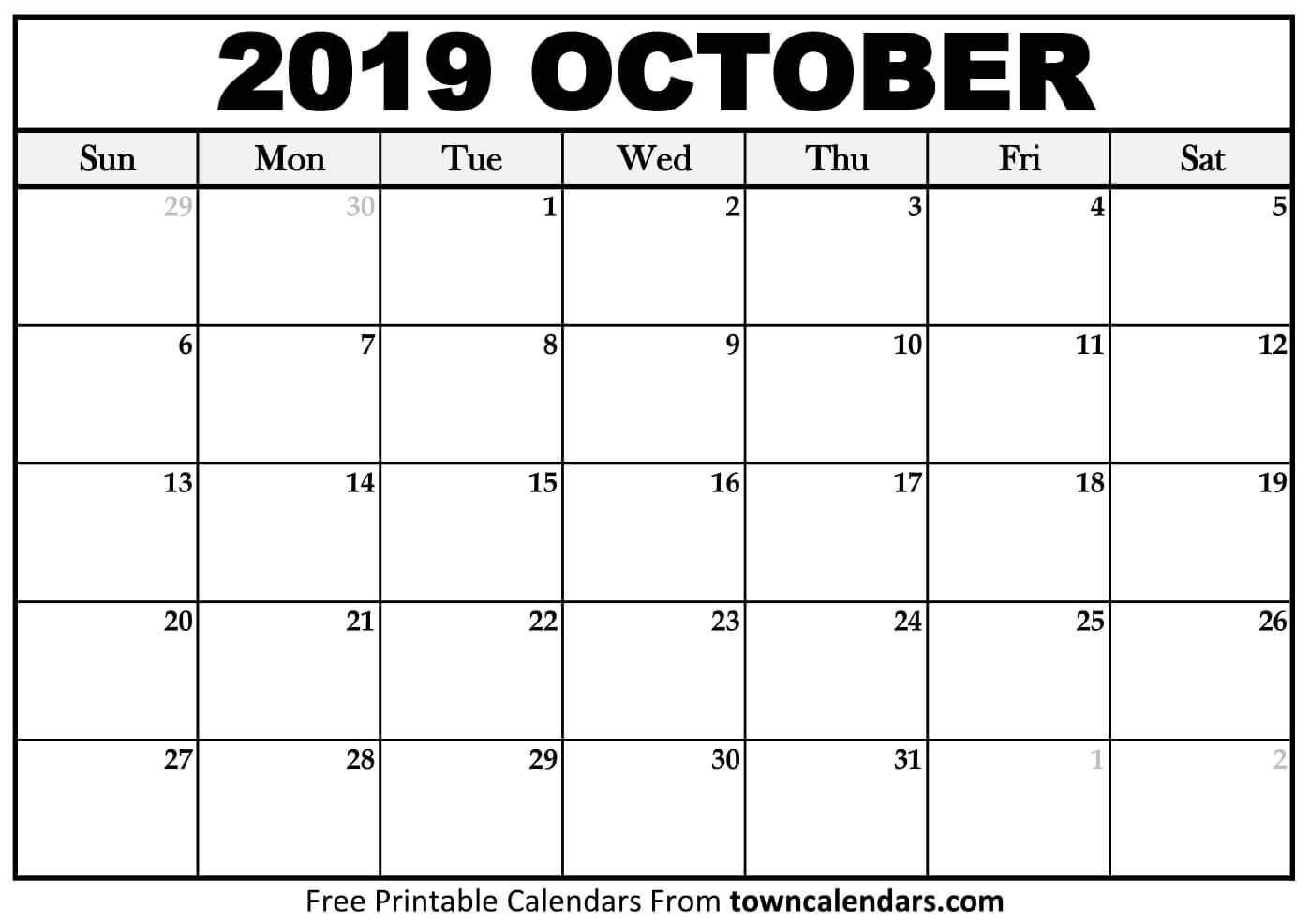 Printable October 2019 Calendar - Towncalendars with regard to Calendar 2019 October To December