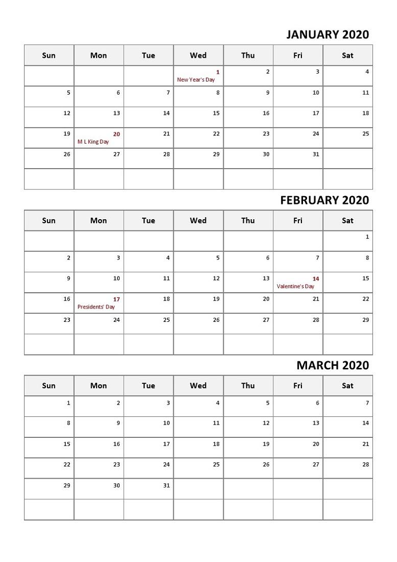 Printable Quarterly Calendar 2020 1St Quarter With Notes | Calendar intended for 2020 Quarterly Calendar Printable Free
