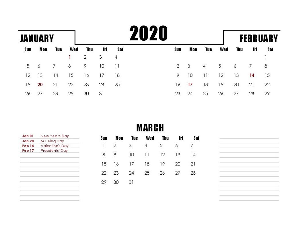 Printable Quarterly Calendar 2020 1St Quarter With Notes | Calendar throughout 2020 Quarterly Calendar Printable Free