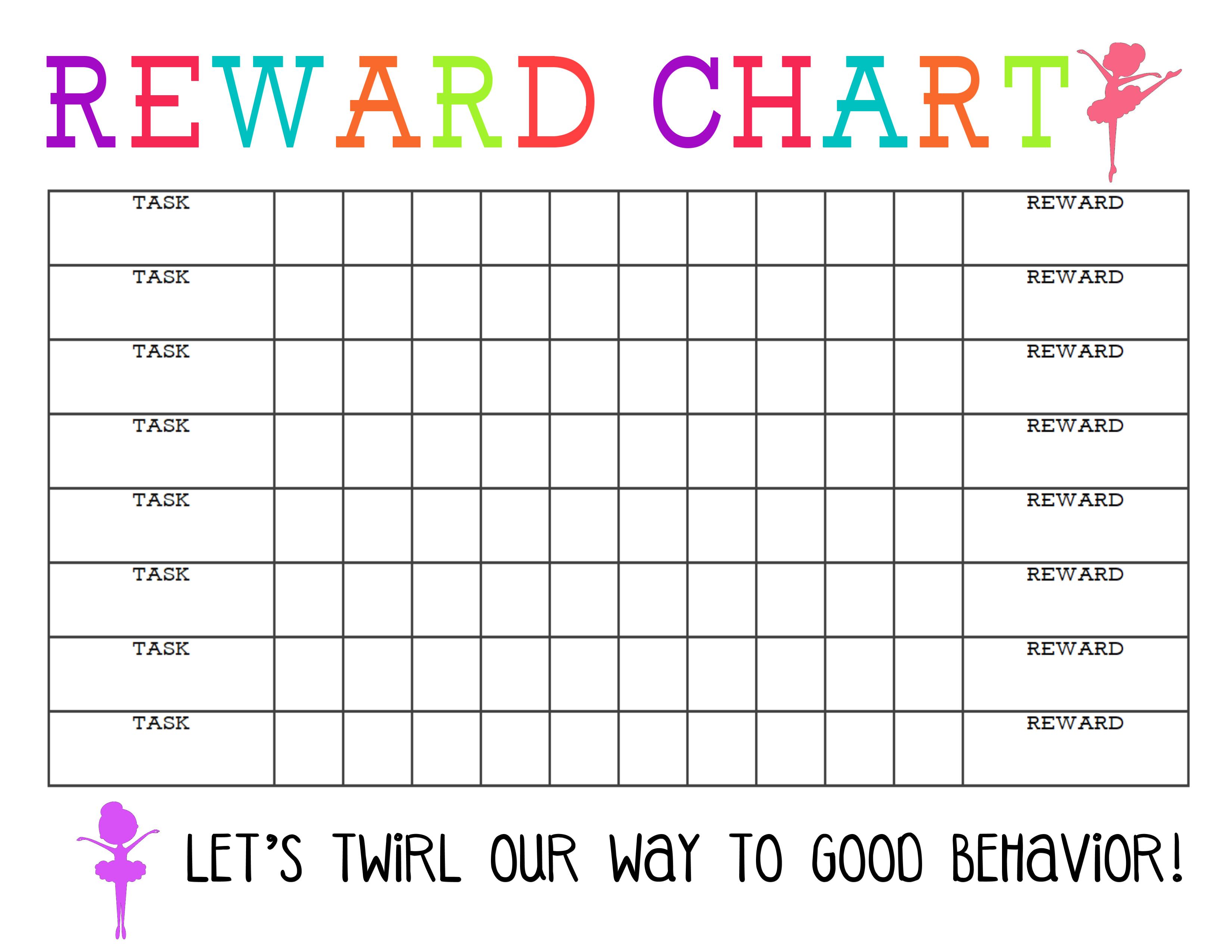 Printable Reward Chart - The Girl Creative intended for Free Printable Blank Behavior Charts