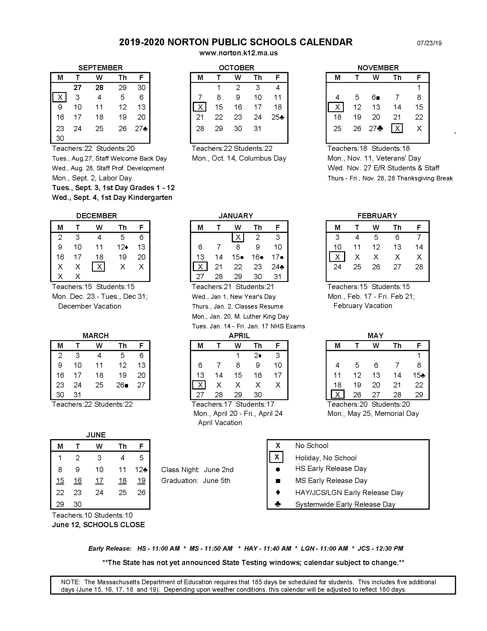 Printable School Calendar - Norton School District throughout Virginia Tech Academic Calendar 2019 2020