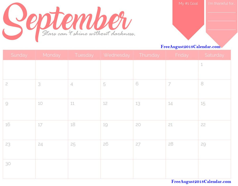 Printable September 2018 Calendar Blank Template - Free August 2019 in September Calendar Printable Template Blank