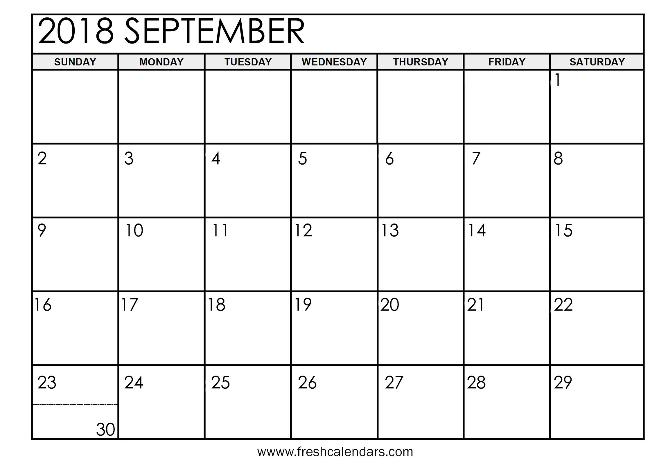 Printable September 2018 Calendar | Hauck Mansion inside Blank Calendar Print-Outs Fill In Sept