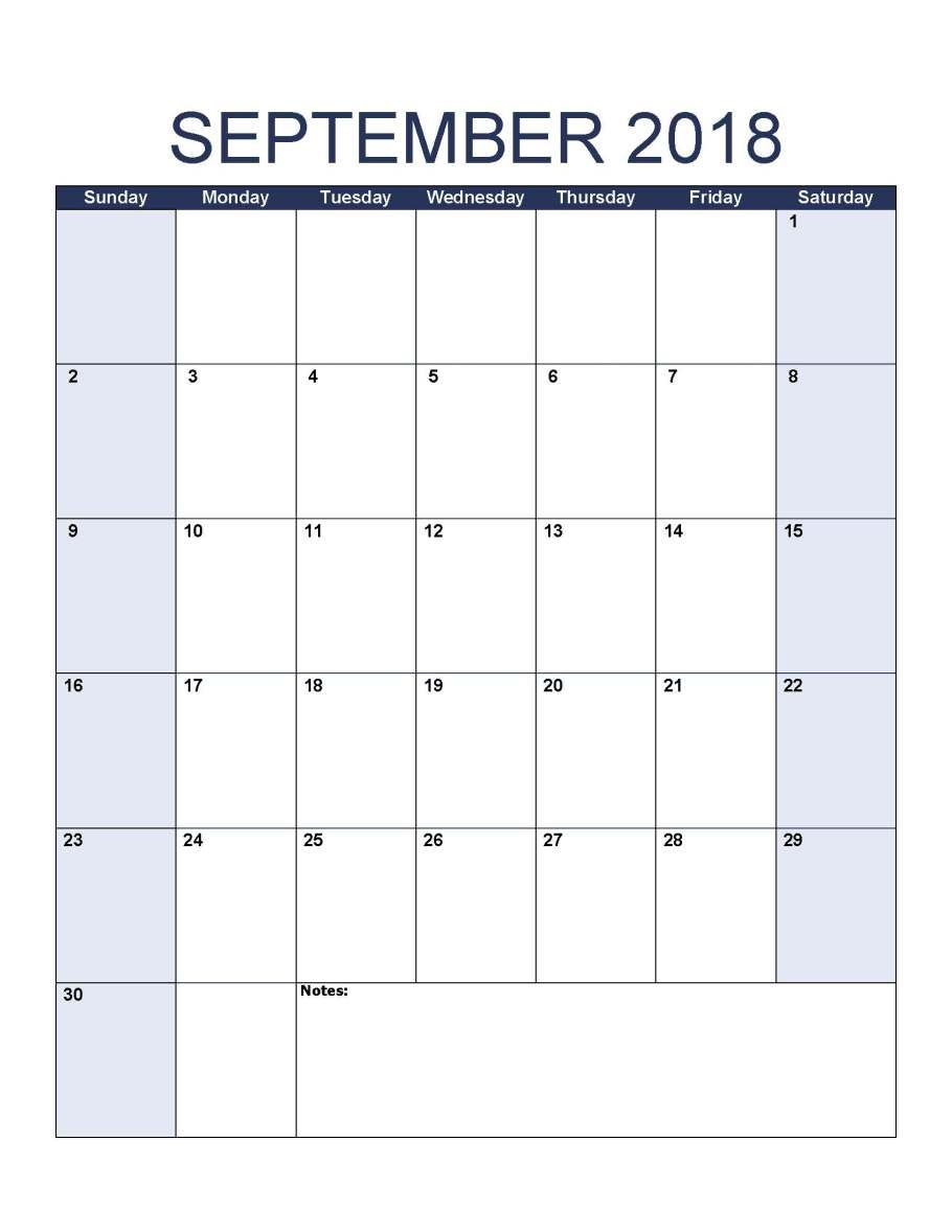 Printable September 2018 Calendar Portrait Z | 1 Day To Day with regard to Blank Monthly Holiday Sheet Template