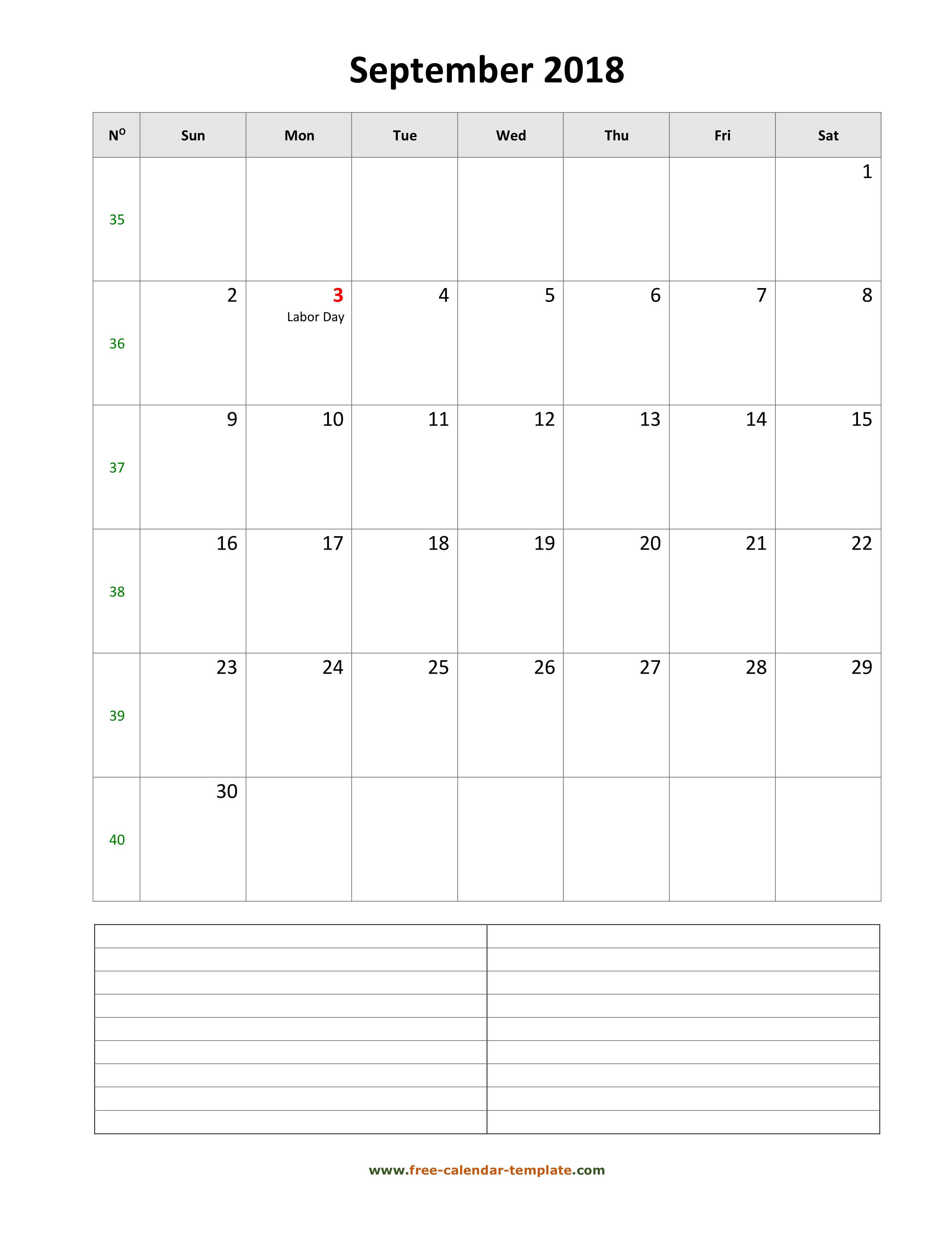 Printable September 2018 Calendar With Space For Appointments within Printable Monthly Calendar Template Aug