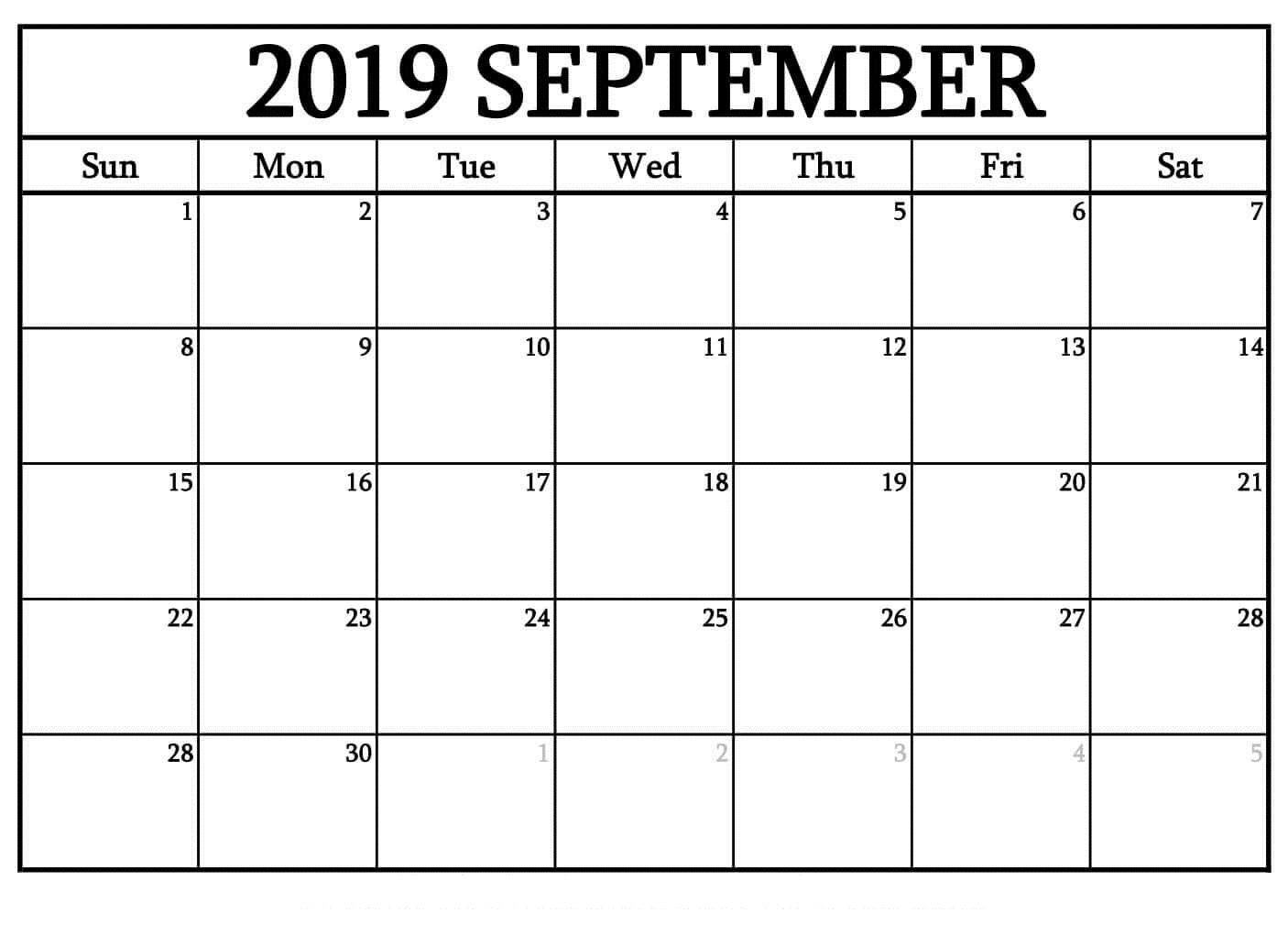 Printable September 2019 Blank Calendar Templates Free - Print Calendar regarding Blank Calendars September Printable