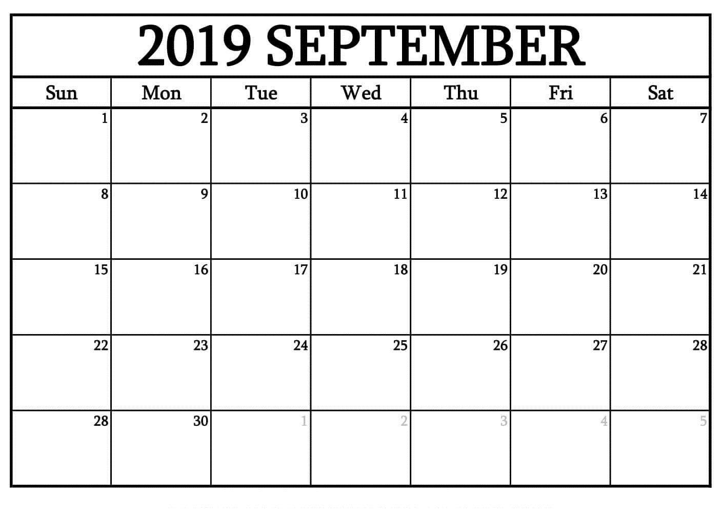 Printable September 2019 Blank Calendar Templates Free - Print Calendar with regard to September Calendar Printable Template Blank