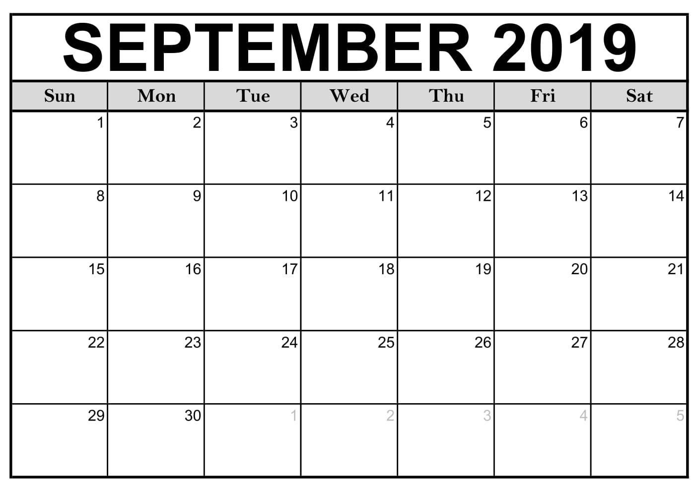 Printable September 2019 Calendar Pdf Free Template - July 2019 intended for Blank Printable September Calendar