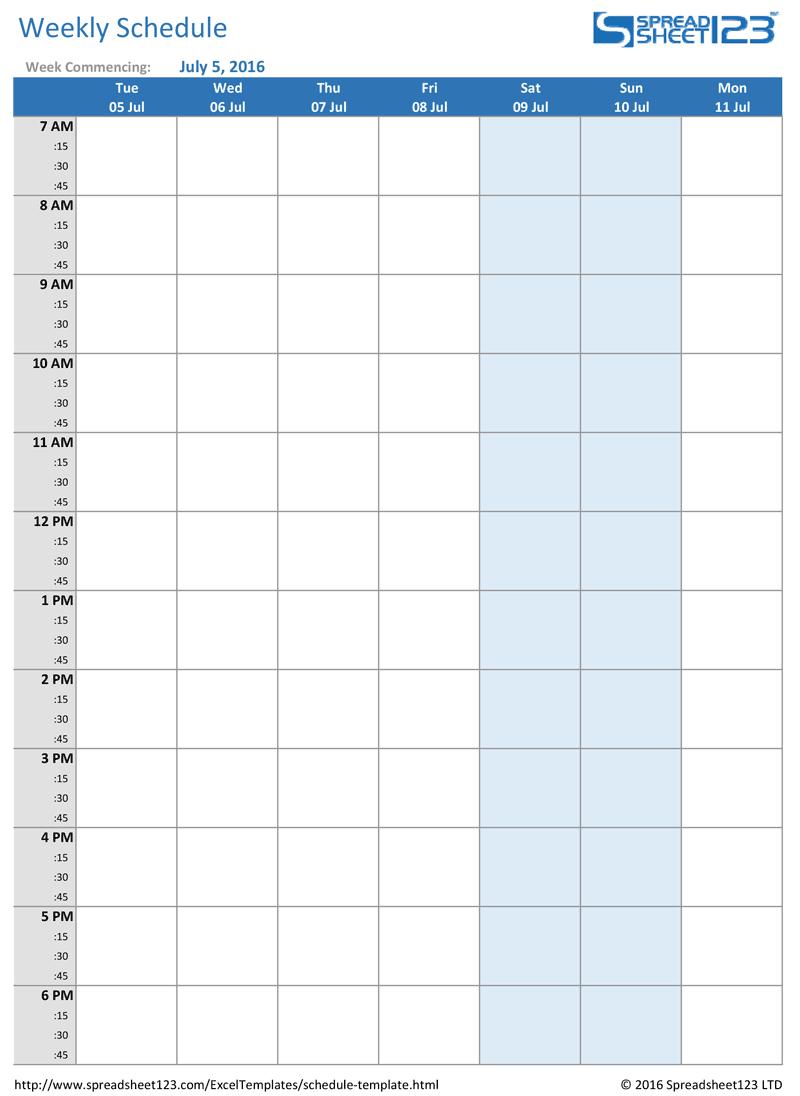 Printable Weekly And Biweekly Schedule Templates For Excel regarding Blank Weekly Calendar Print Outs
