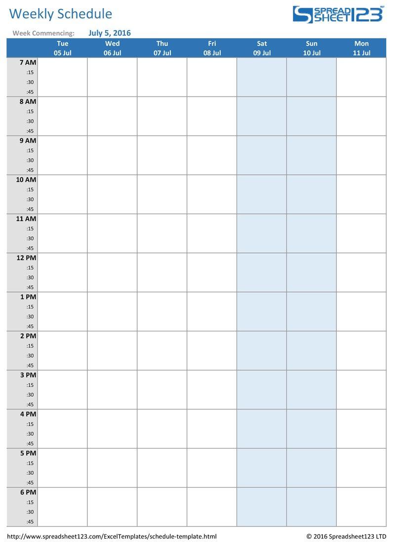 Printable Weekly And Biweekly Schedule Templates For Excel::blank regarding Weekly Calendar Templates Excel