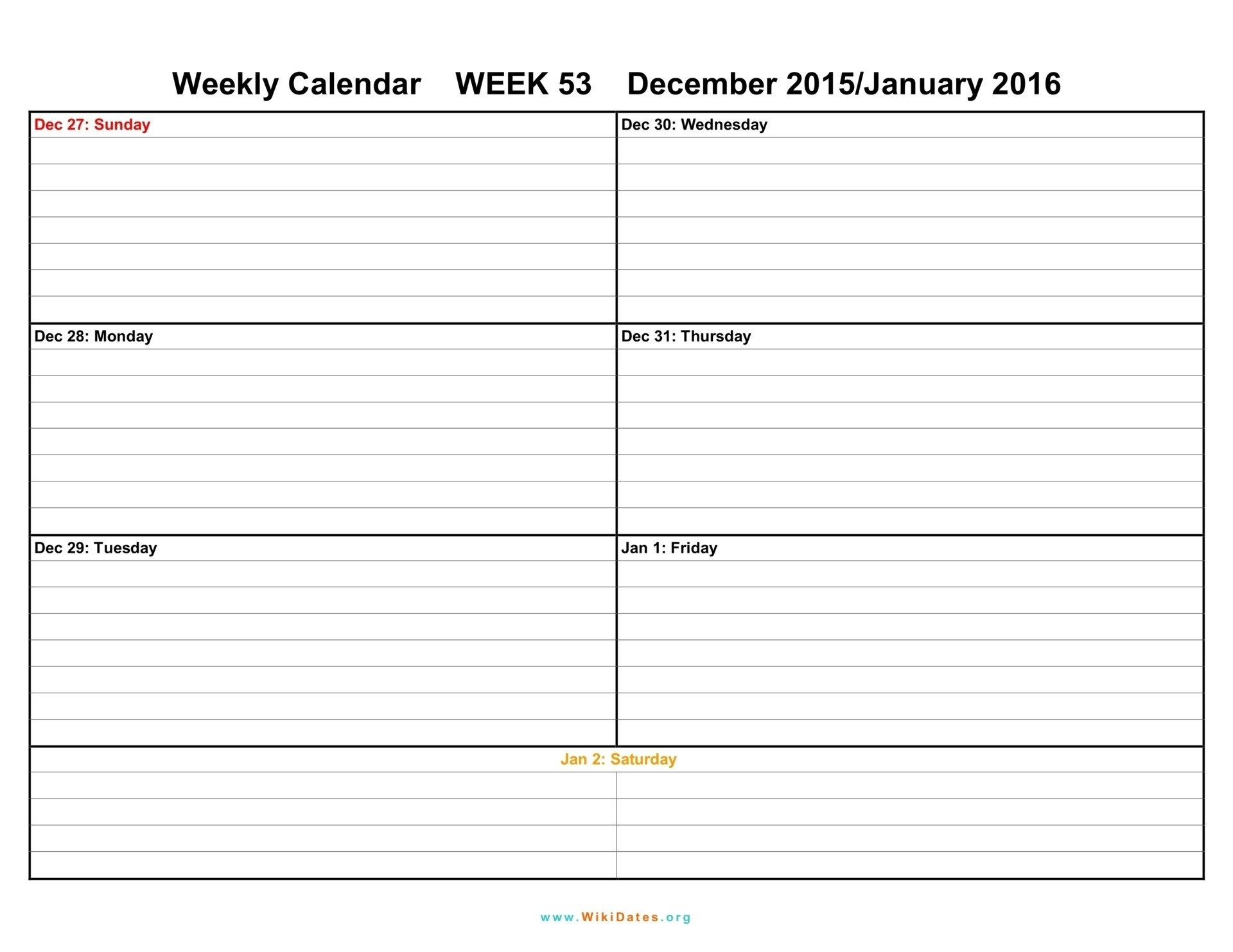 Printable Weekly Calendar Two Week Template Weeks Blank December inside Blank December Weekly Calander