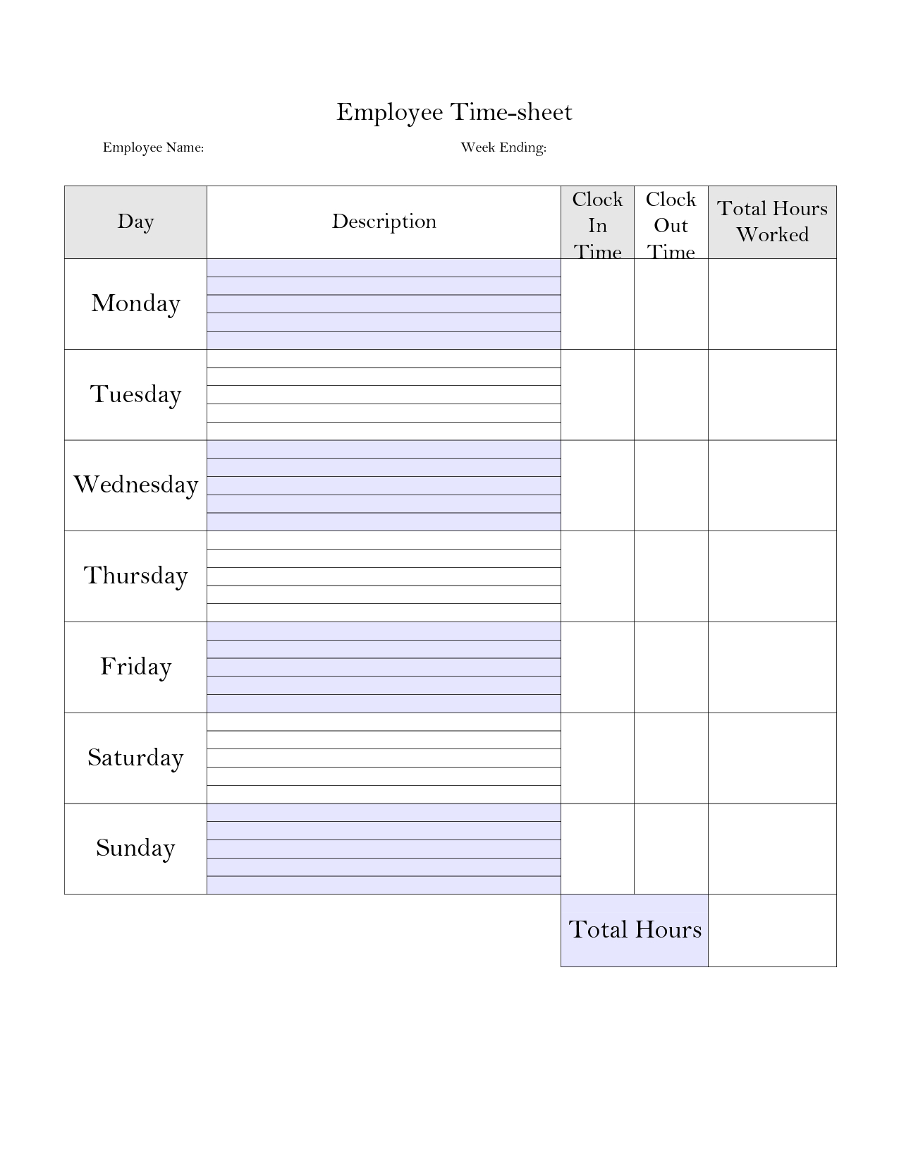 Printable Weekly Employee Time Card - Google Search | Construction intended for Printable Blank Weekly Employee Schedule