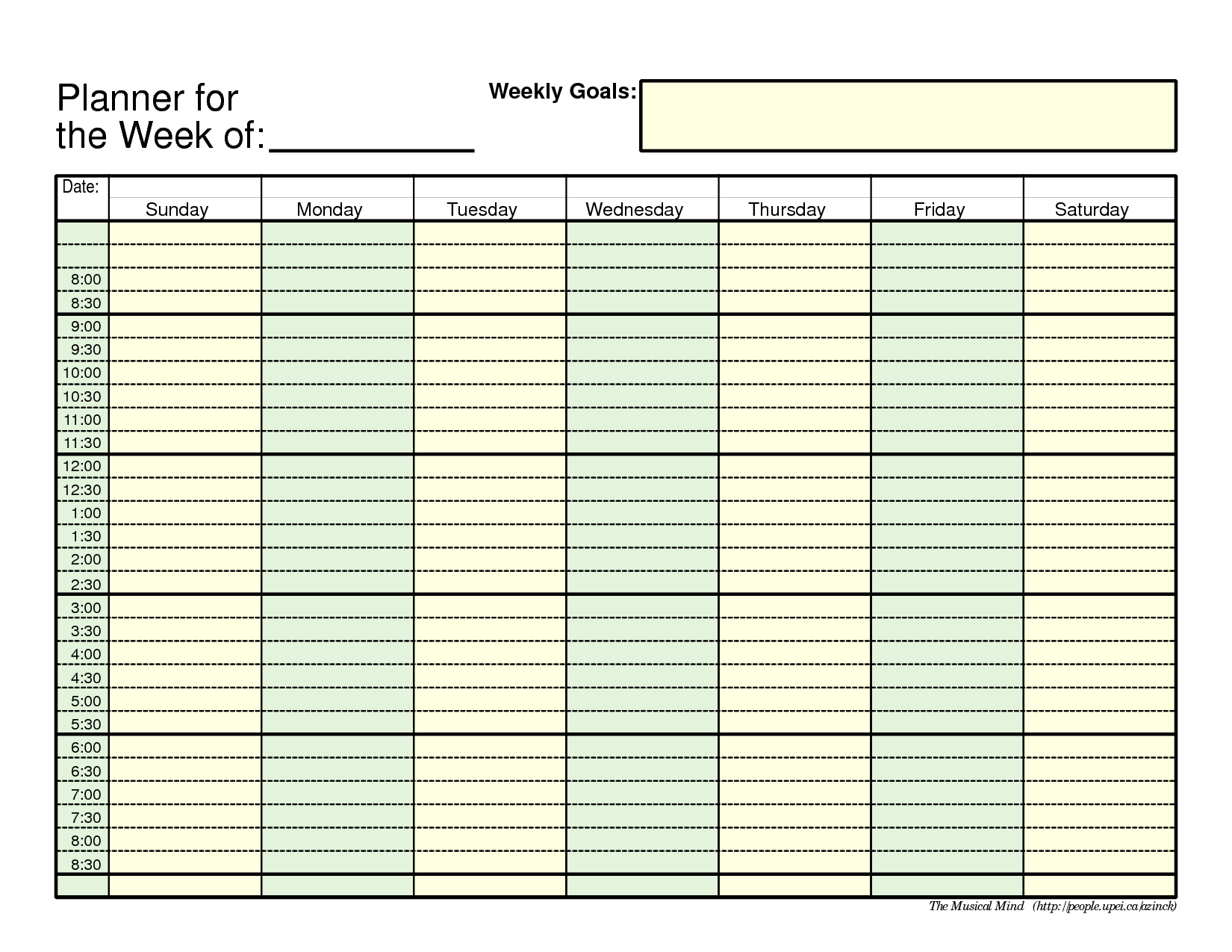 Printable Weekly Planner Template Pdf Download Them Or Print Free for Free Calendar With Time Slots Template