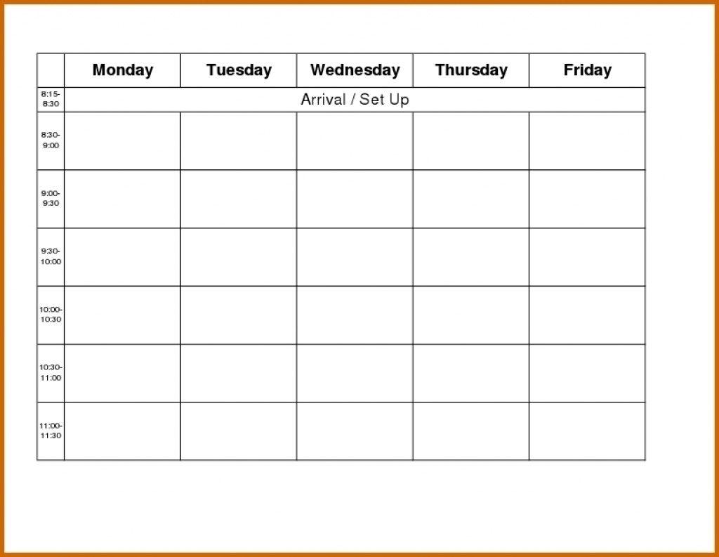 Printable Weekly R Monday Through Friday Template Blank Free To regarding Monday - Sunday Calendar Template