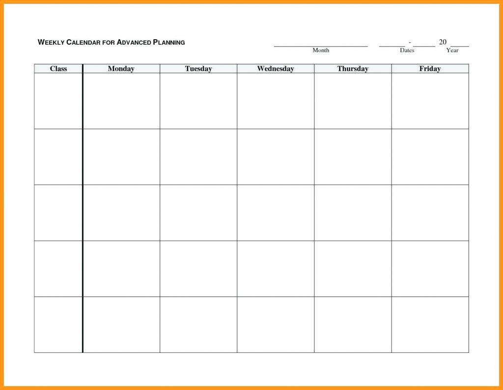 Printable Weekly R Monday Through Friday Template Blank Free To | Smorad in Blank Calendar Template Monday Friday